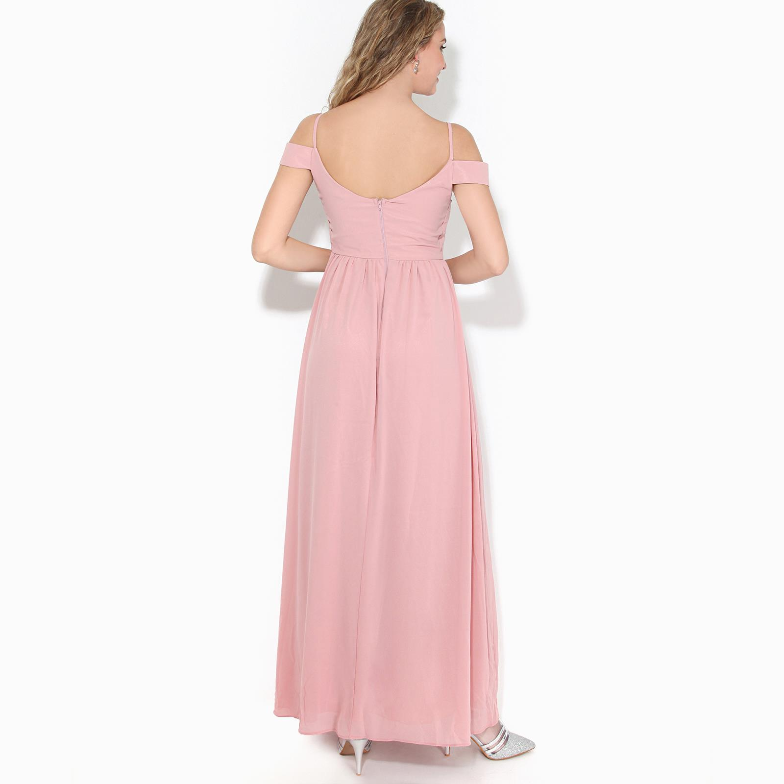 Womens-Ladies-Off-Shoulder-Formal-Maxi-Dress-Slit-Split-Long-Gown-Wedding-Party thumbnail 4
