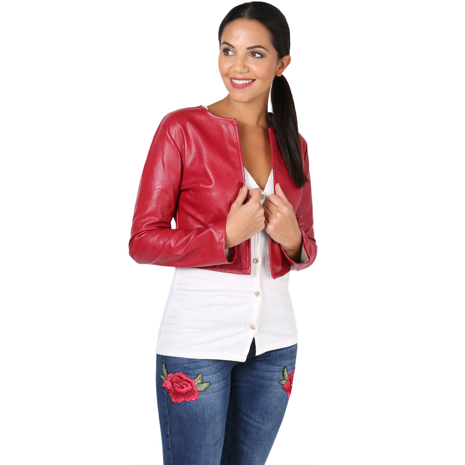 femmes veste blazer bol ro court mini bomber cuir bol ro jacket gilet cardigan ebay. Black Bedroom Furniture Sets. Home Design Ideas