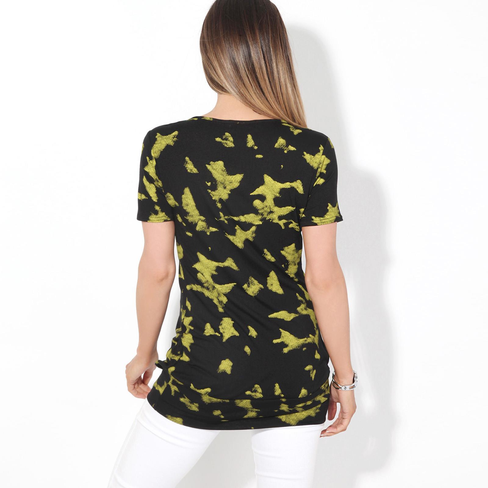 Womens-Ladies-Pattern-T-Shirt-Camo-Print-Blouse-Scoop-Neck-Baggy-Long-Top-Tunic thumbnail 11