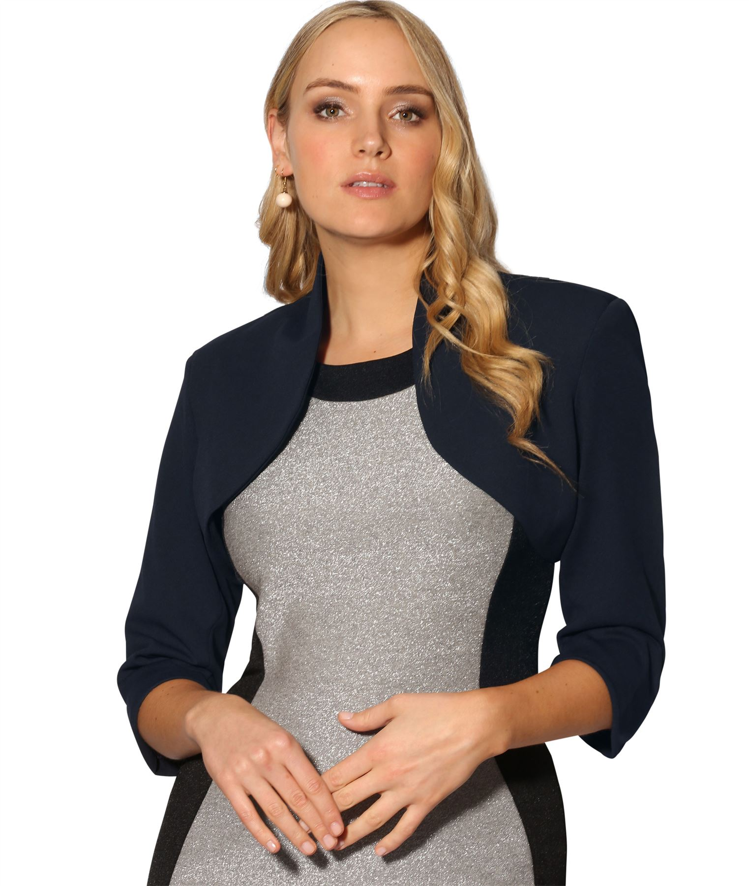 Womens-Tailored-Bolero-Shrug-Cropped-Top-Short-Sleeve-Party-Blazer-Jacket-Coat thumbnail 6