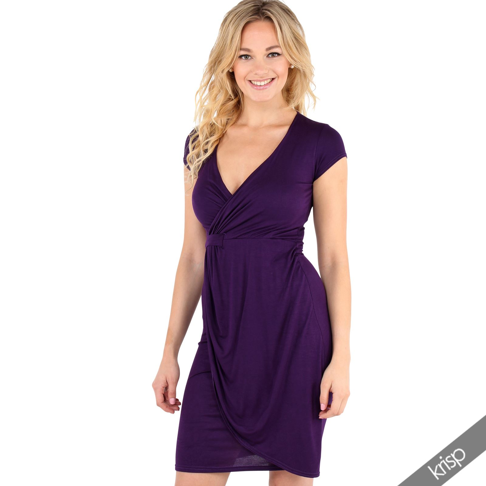 Womens-V-Neck-Wrap-Front-Top-Jersey-Midi-Dress-Cap-Sleeve-Pleated-Skirt-Party