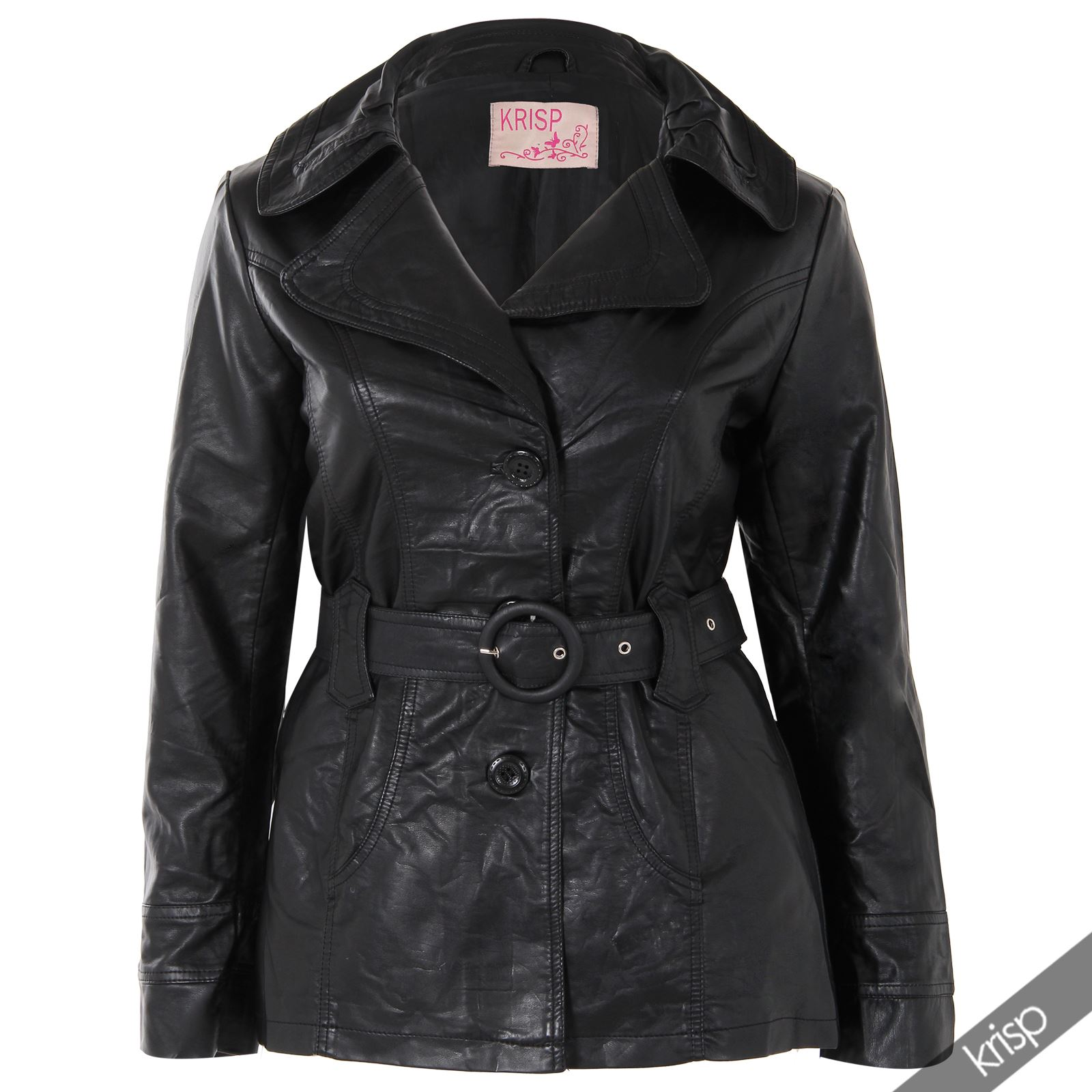 Leather jacket size 18 - Womens Soft Pu Leather Belted Collared Mac Jacket