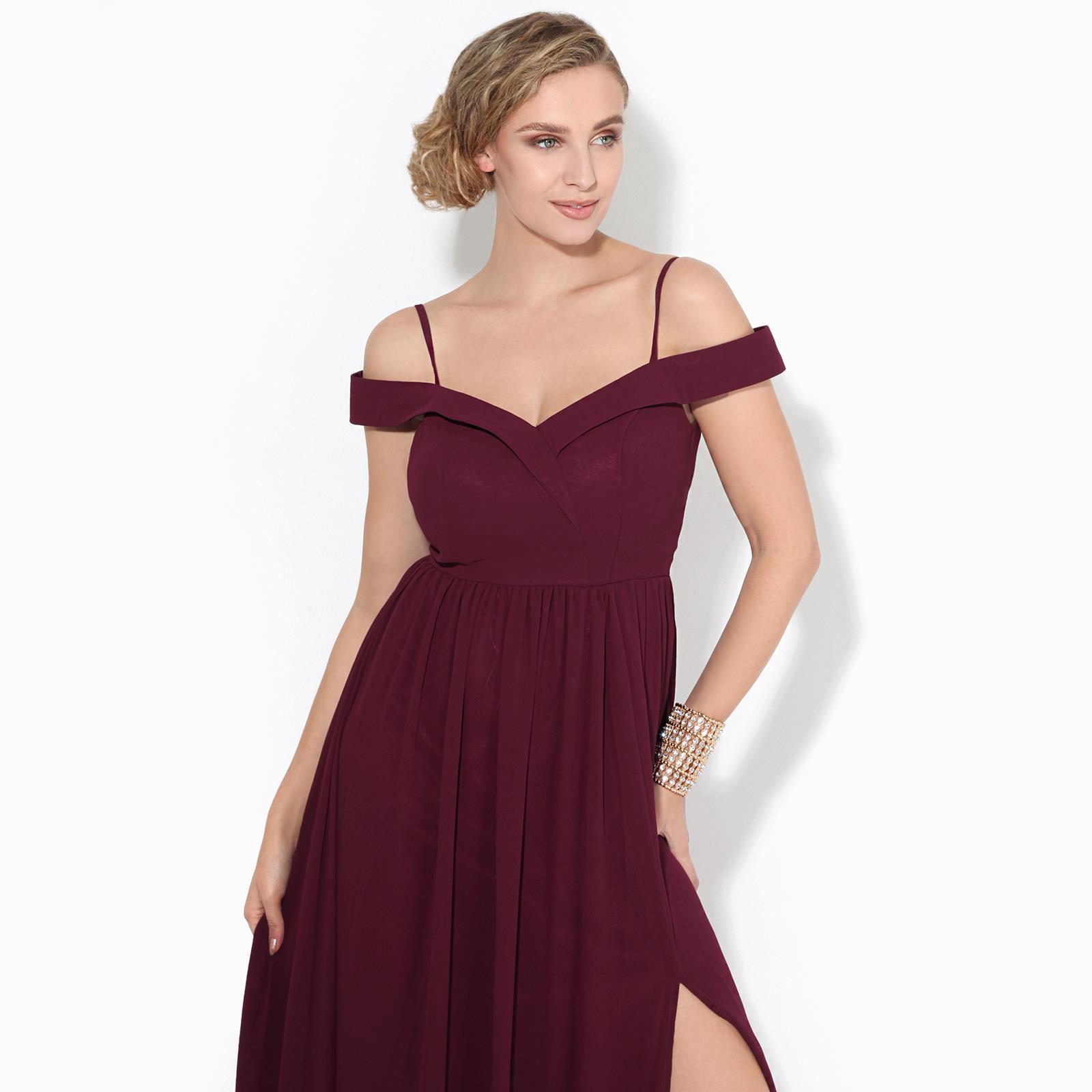 Womens-Ladies-Off-Shoulder-Formal-Maxi-Dress-Slit-Split-Long-Gown-Wedding-Party thumbnail 15