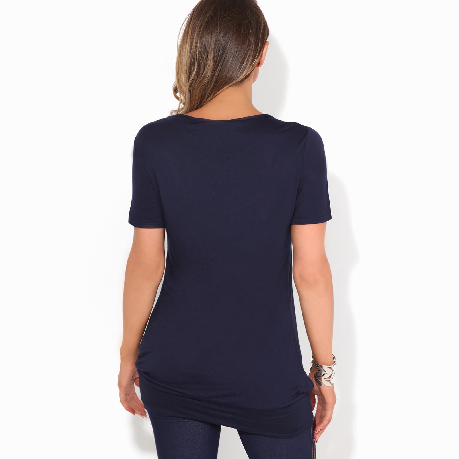 Femmes-Top-Haut-Chemisier-T-Shirt-Chemise-Blouse-Tunique-Long-Grandes-Tailles miniature 5