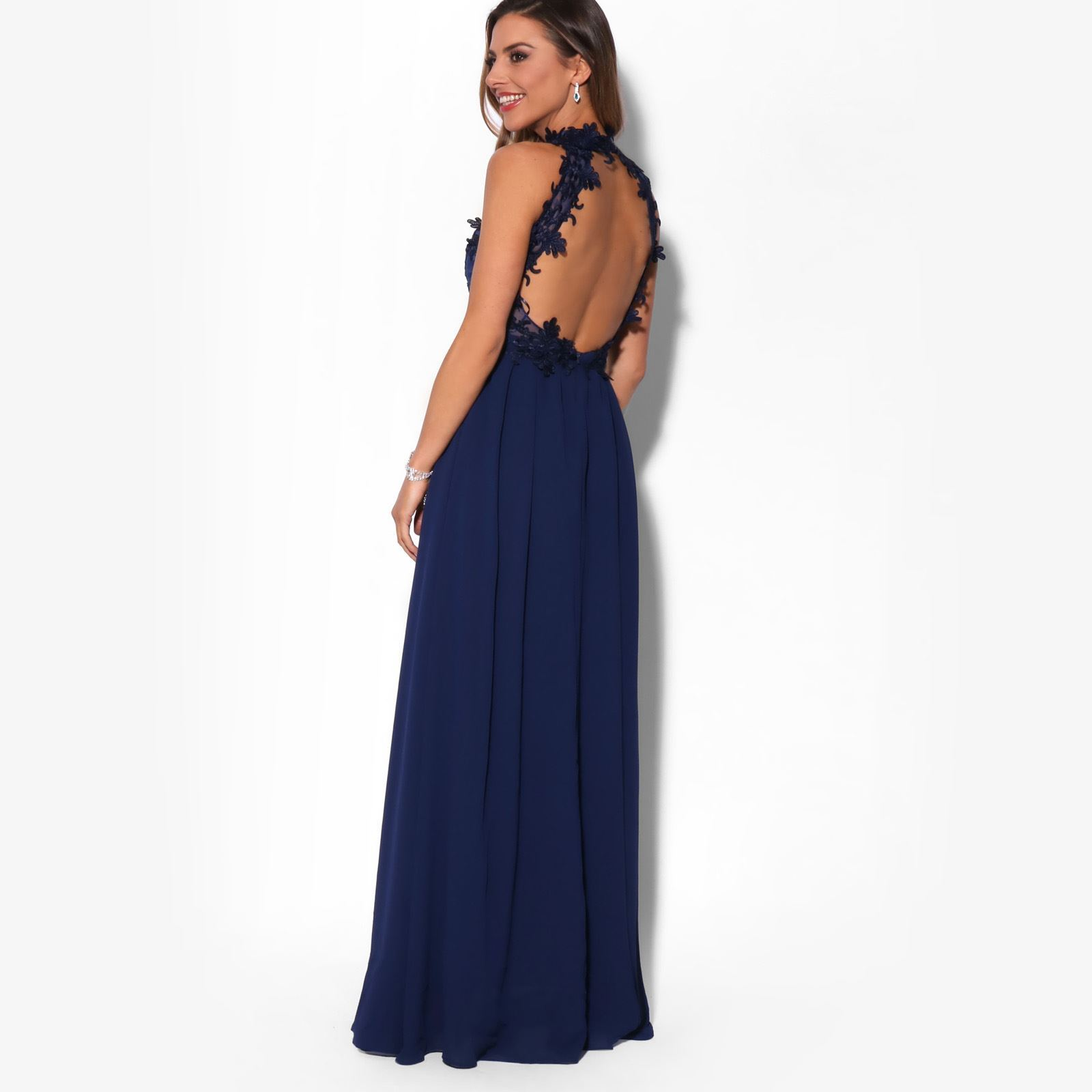 Women-Lace-Halterneck-Maxi-Dress-Long-Evening-Cocktail-Ball-Gown-Formal-Party thumbnail 6