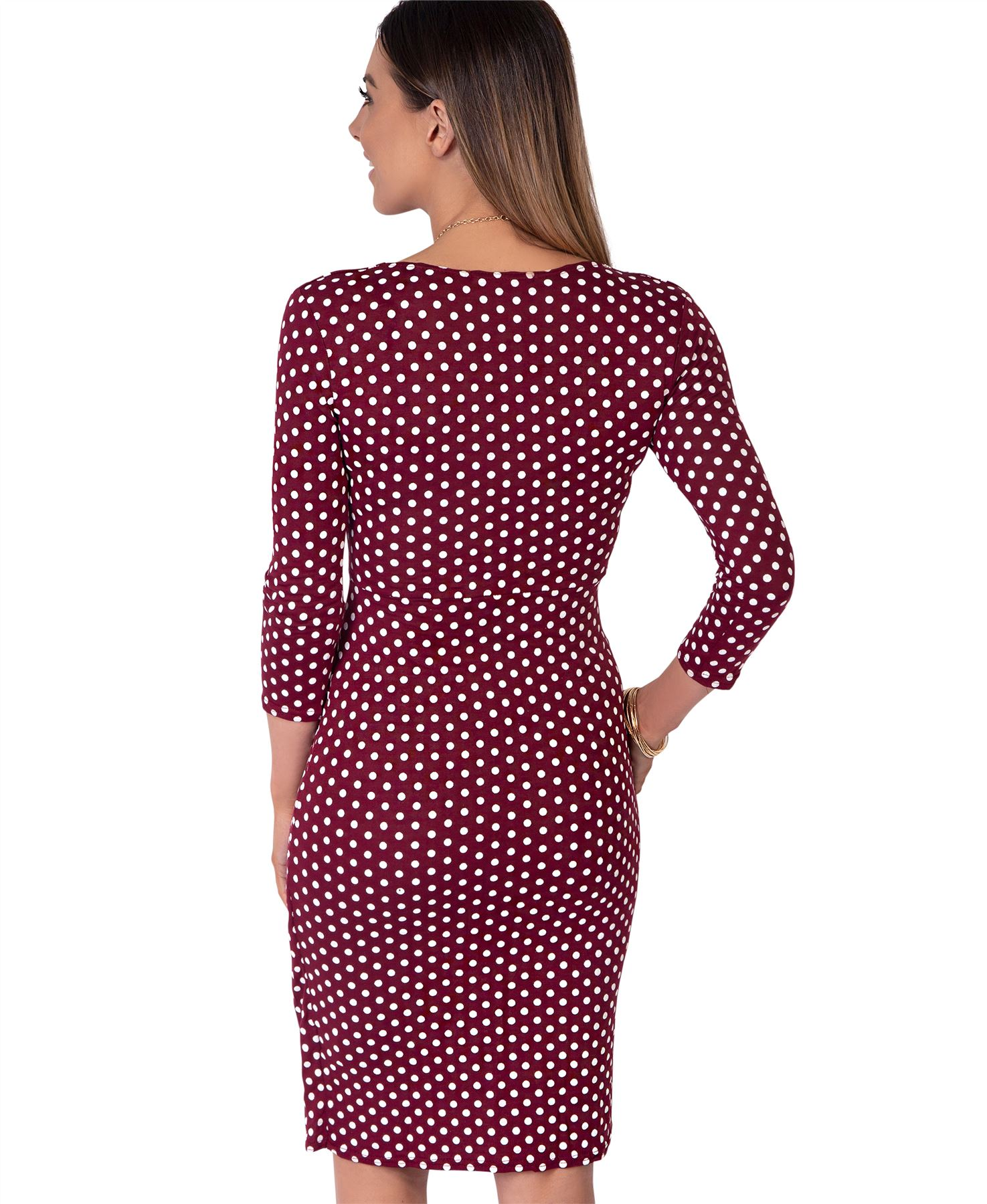 Womens-Polka-Dot-Dress-Pleated-Skirt-Wrap-Front-Midi-V-Neck-Top-Swing-Party thumbnail 37