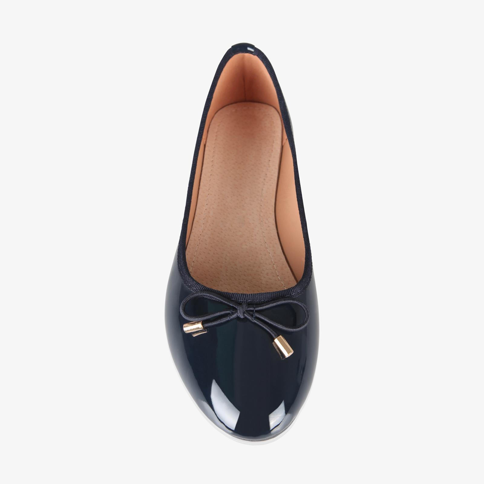 Womens-Ladies-Patent-Flat-Shoes-Ballerina-Ballet-Dolly-Court-Pumps-Slip-On-Bow thumbnail 6
