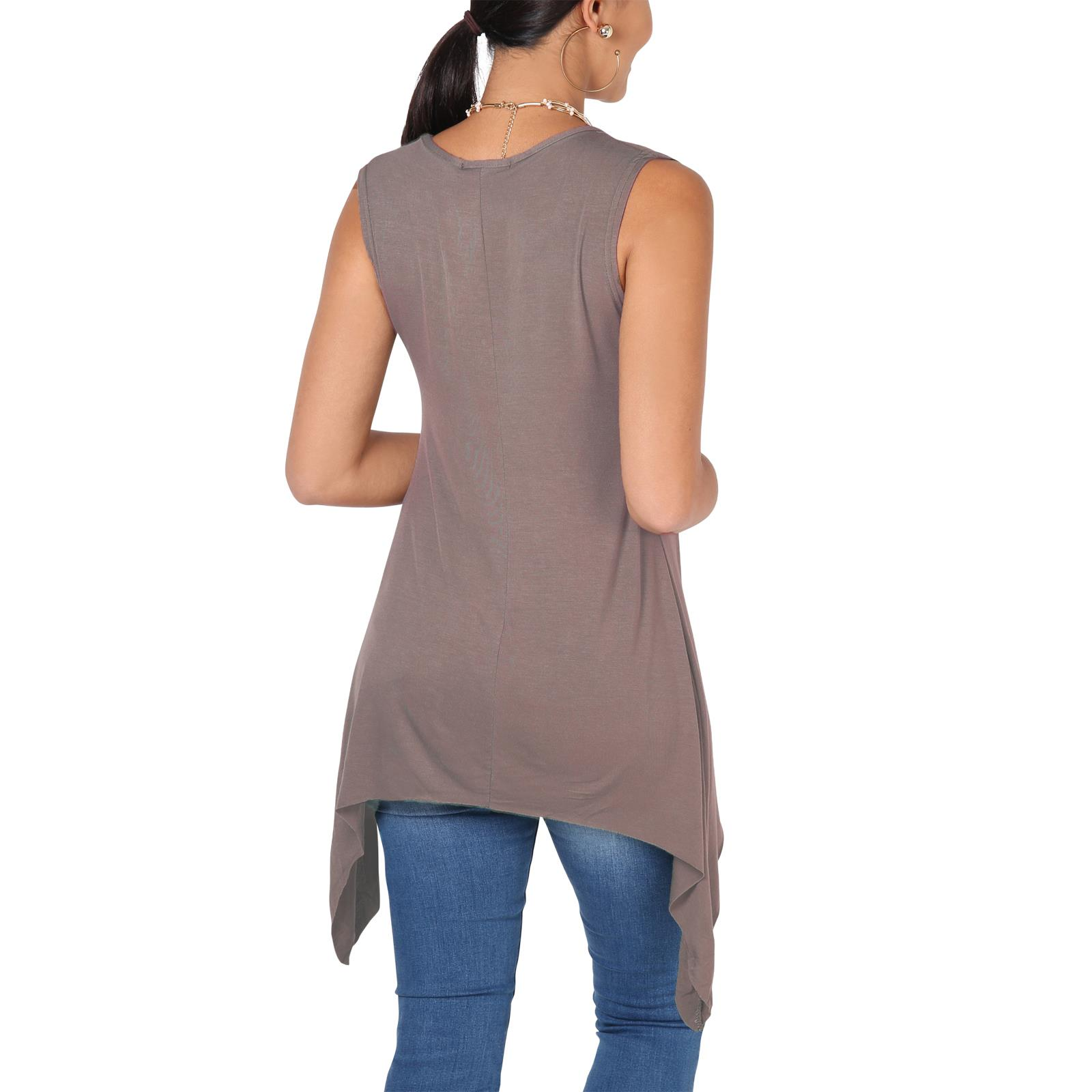 Women-Long-Top-Sleeveless-Pleated-Tee-Shirt-Tunic-Jersey-Stretch-Loose-Fit thumbnail 16