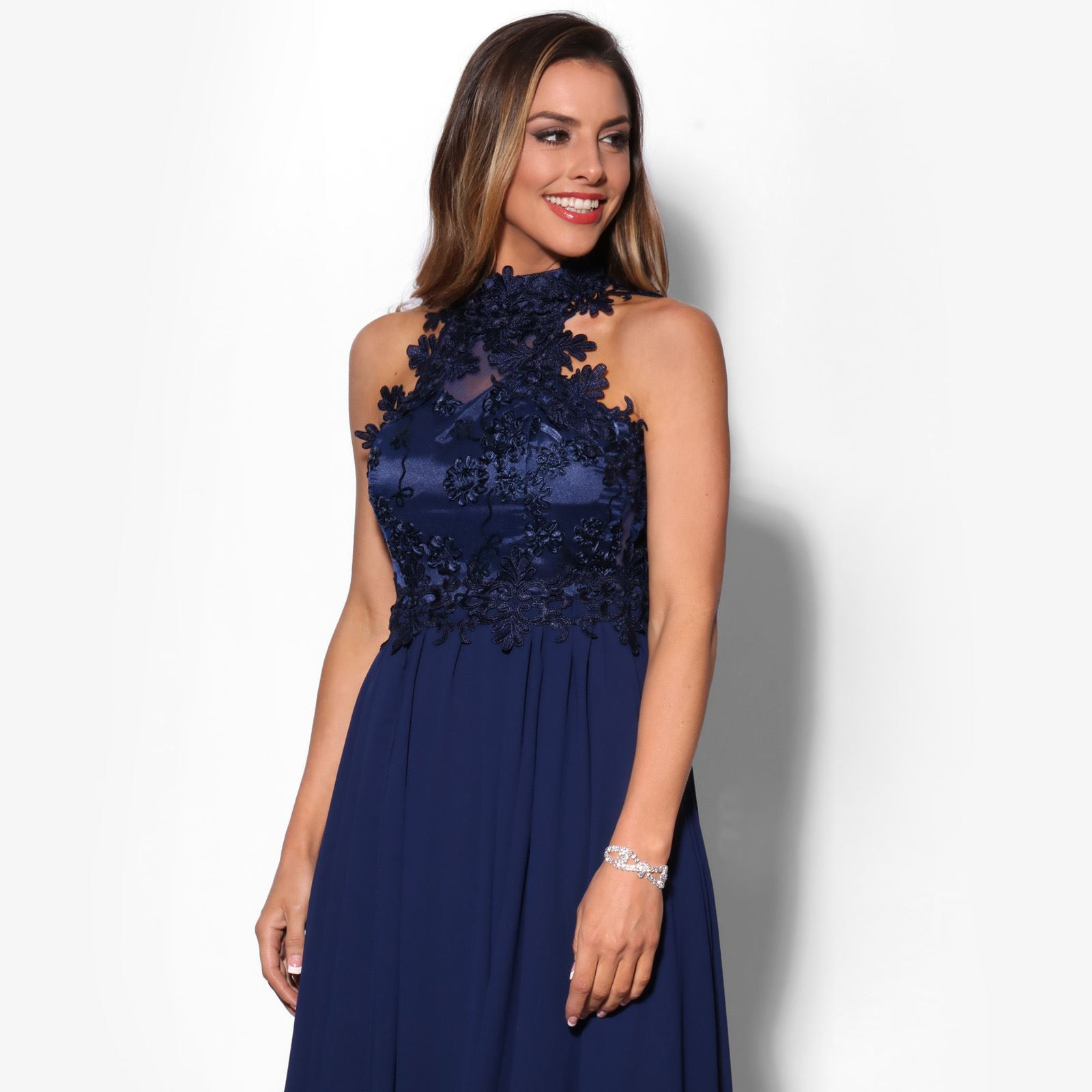 Women-Lace-Halterneck-Maxi-Dress-Long-Evening-Cocktail-Ball-Gown-Formal-Party thumbnail 7