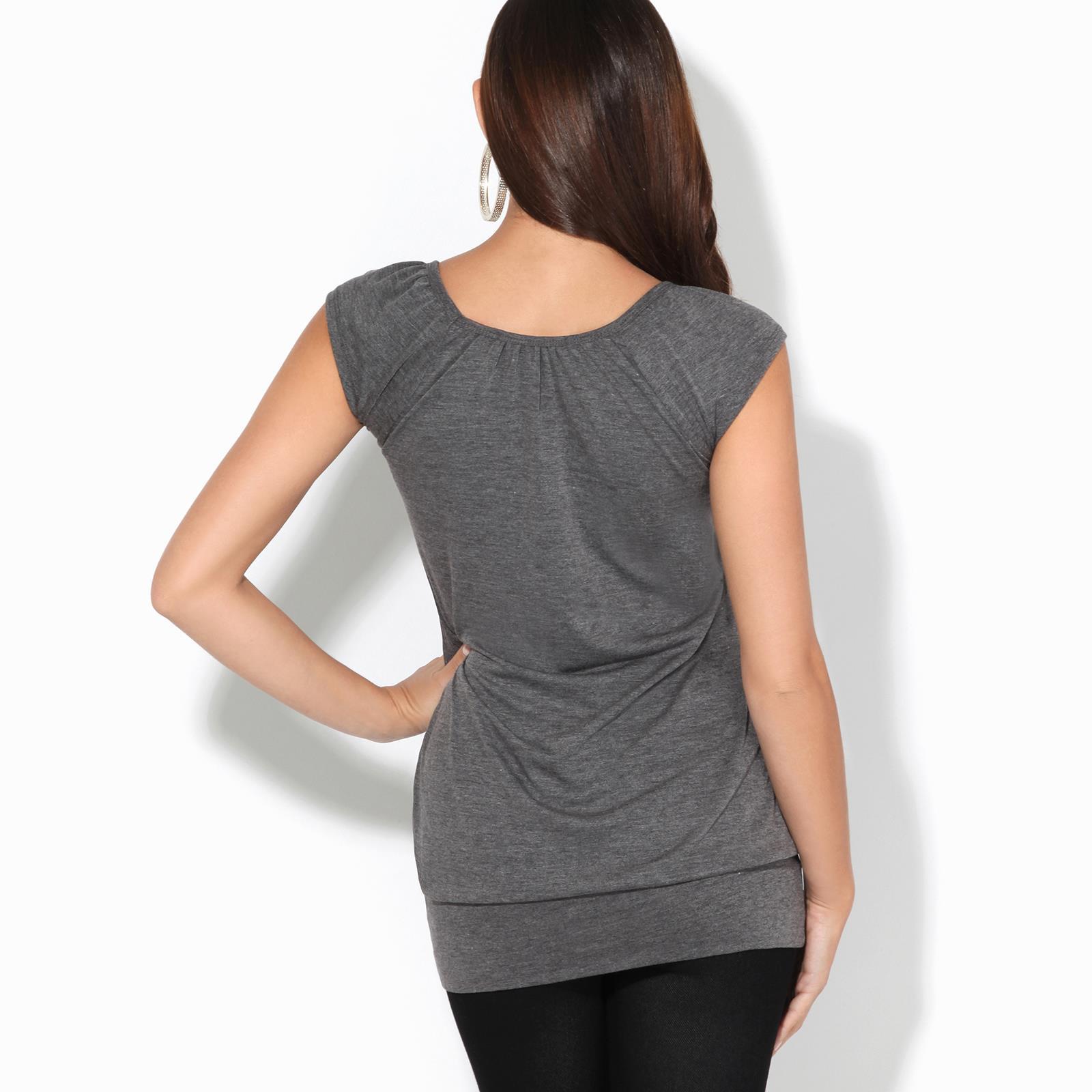 Womens-Ladies-Scoop-Neck-Blouse-V-T-Shirt-Long-Short-Sleeve-Plain-Loose-Top thumbnail 16