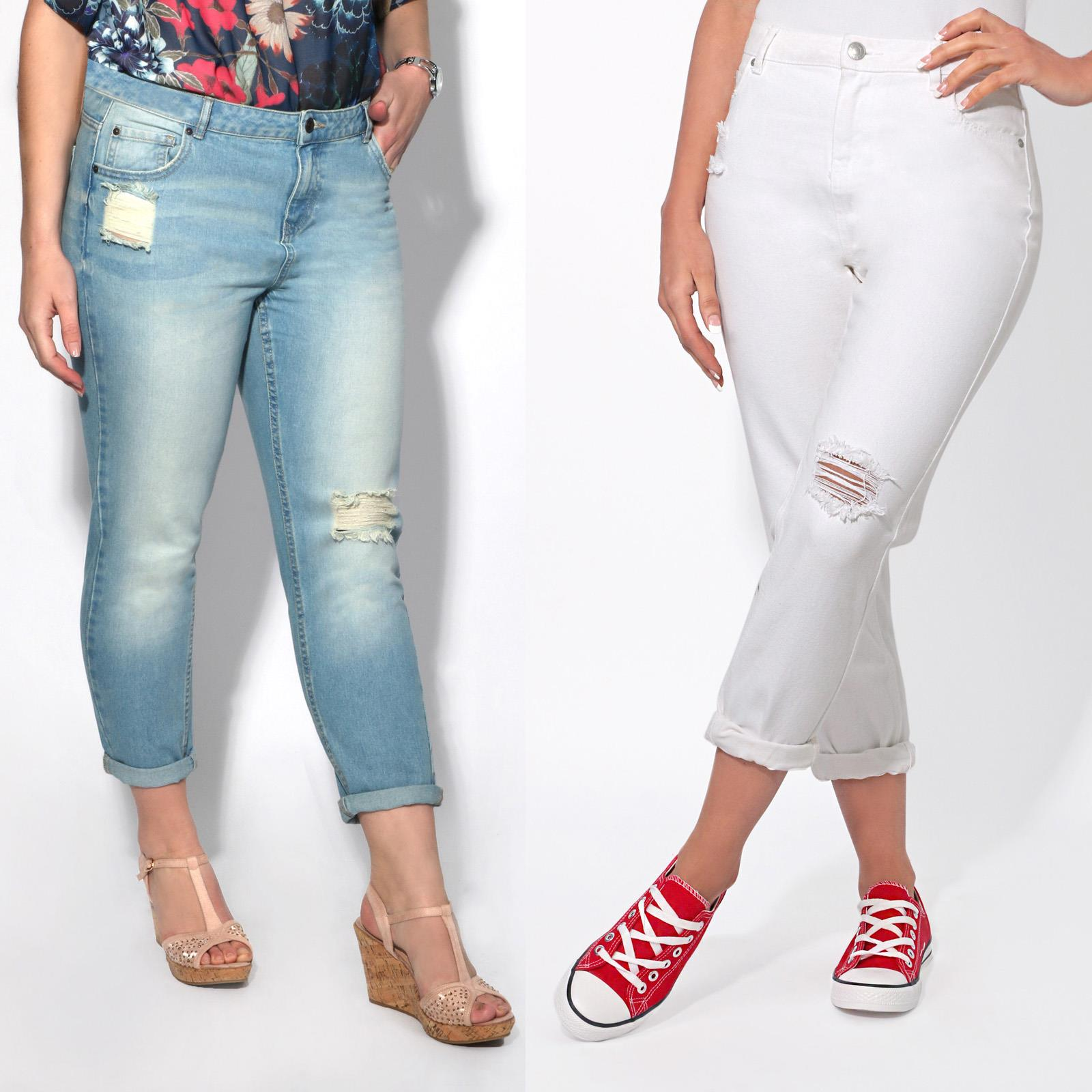 d2632a554e8 Women Ladies Ripped Cropped High Waisted Boyfriend Mom Jeans Distressed  Denim