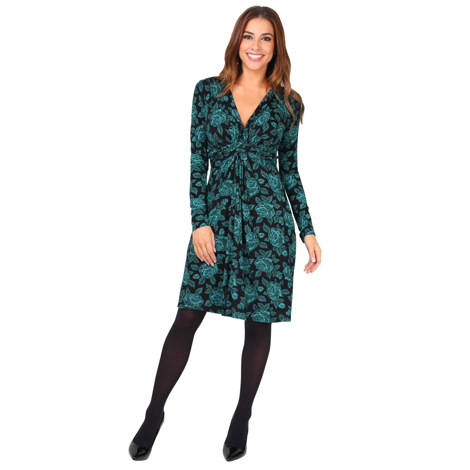 Womens-Ladies-Mini-Dress-Drape-Stretch-Long-Sleeve-Ruched-Twist-Knot-Party-Work thumbnail 84