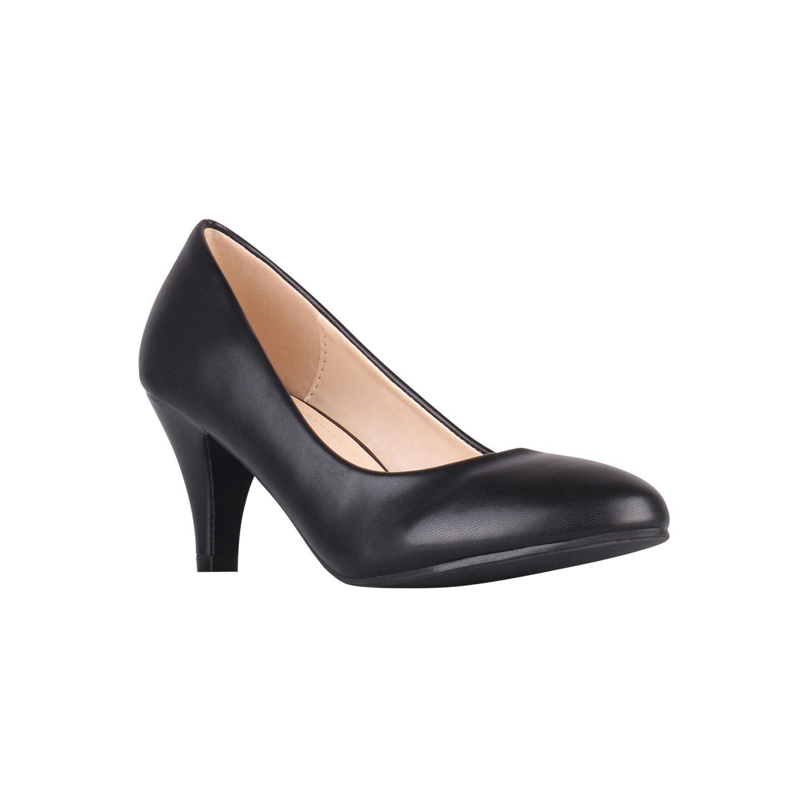Womens-Ladies-Mid-Heel-Court-Shoes-Slip-On-Low-Kitten-Heels-Pumps-Matte-Size-3-8 thumbnail 10