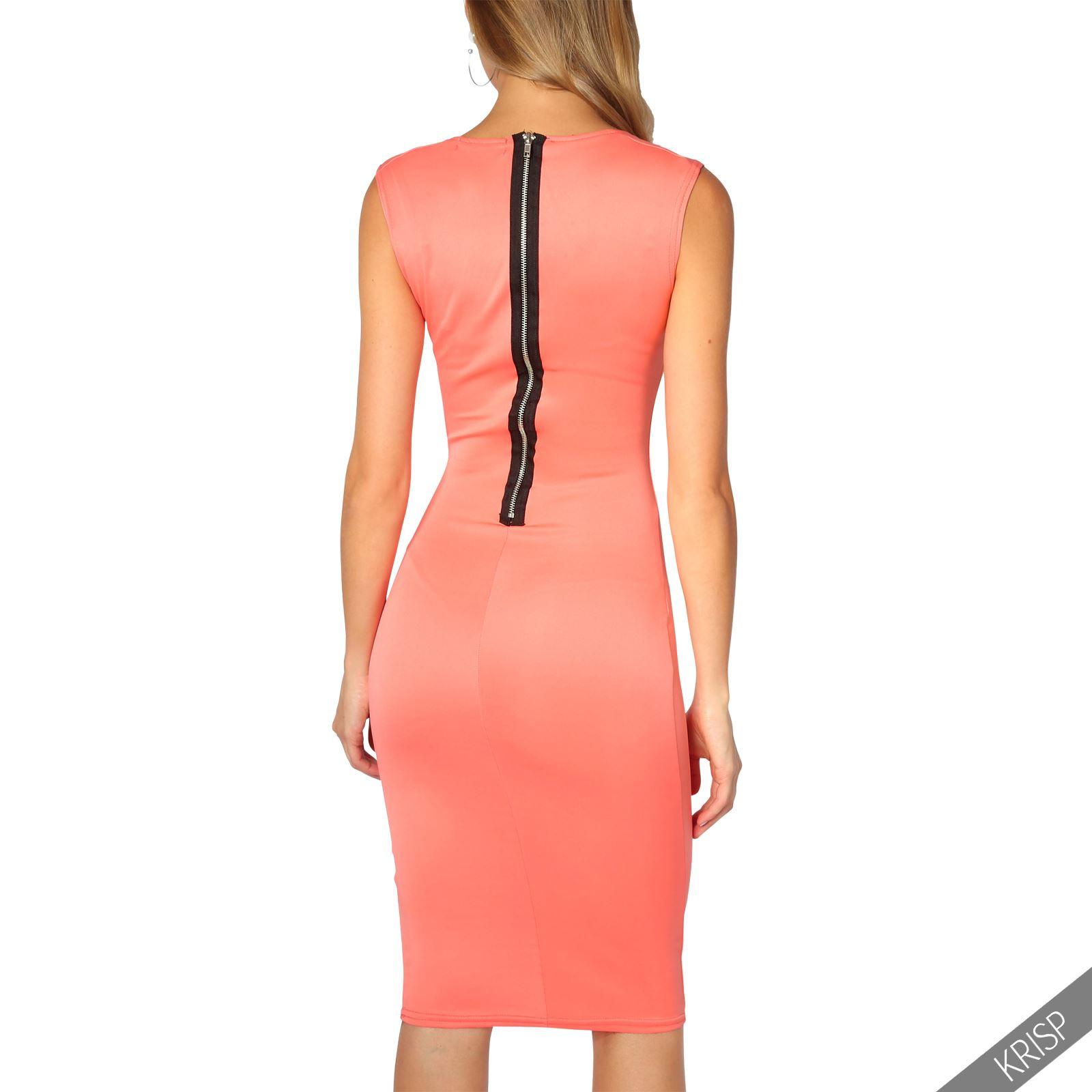 Damen Stretch Kleid Etuikleid Kragenausschnitt ...