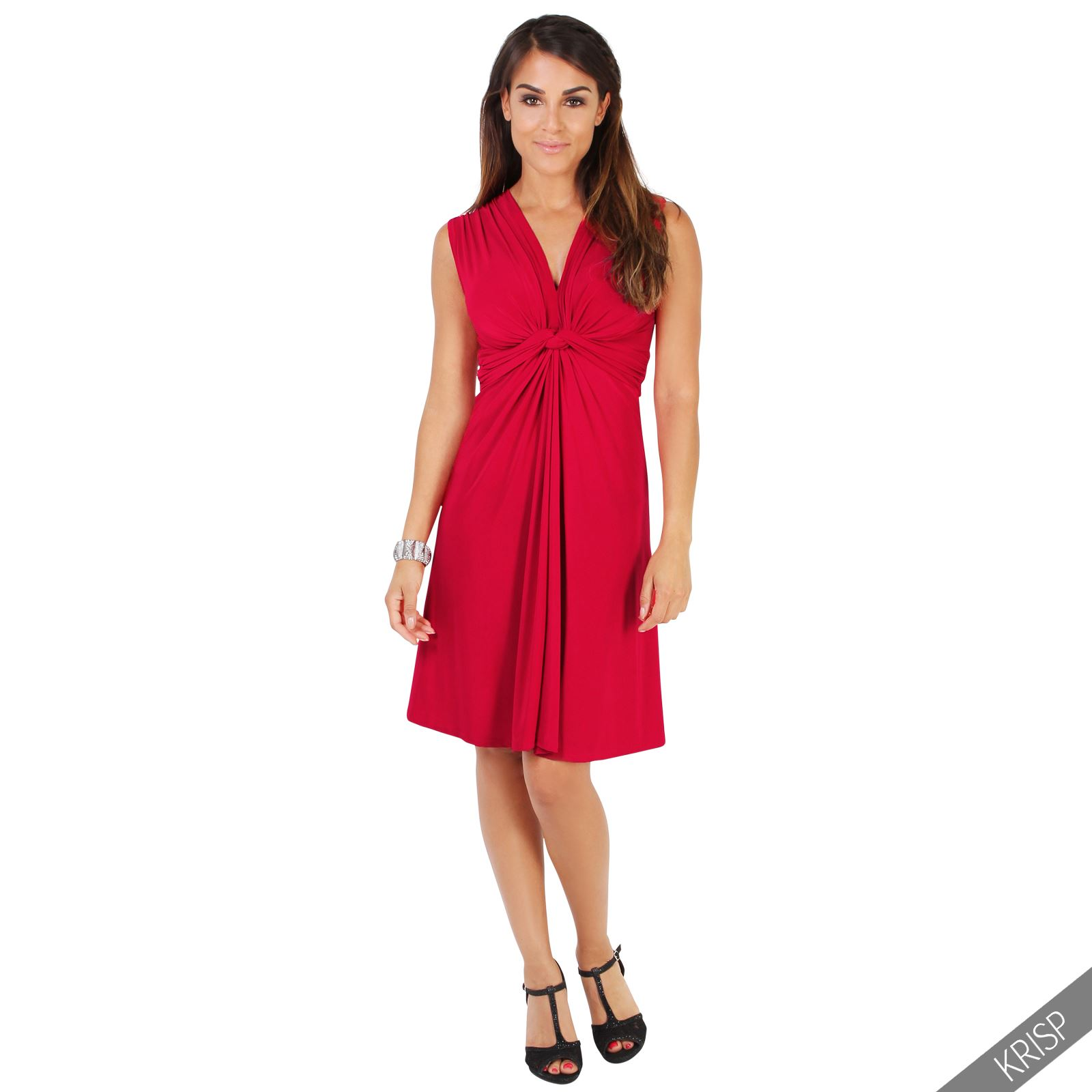 Ruched Drape Twist Knot Front Mini Dress Tie Belted Party