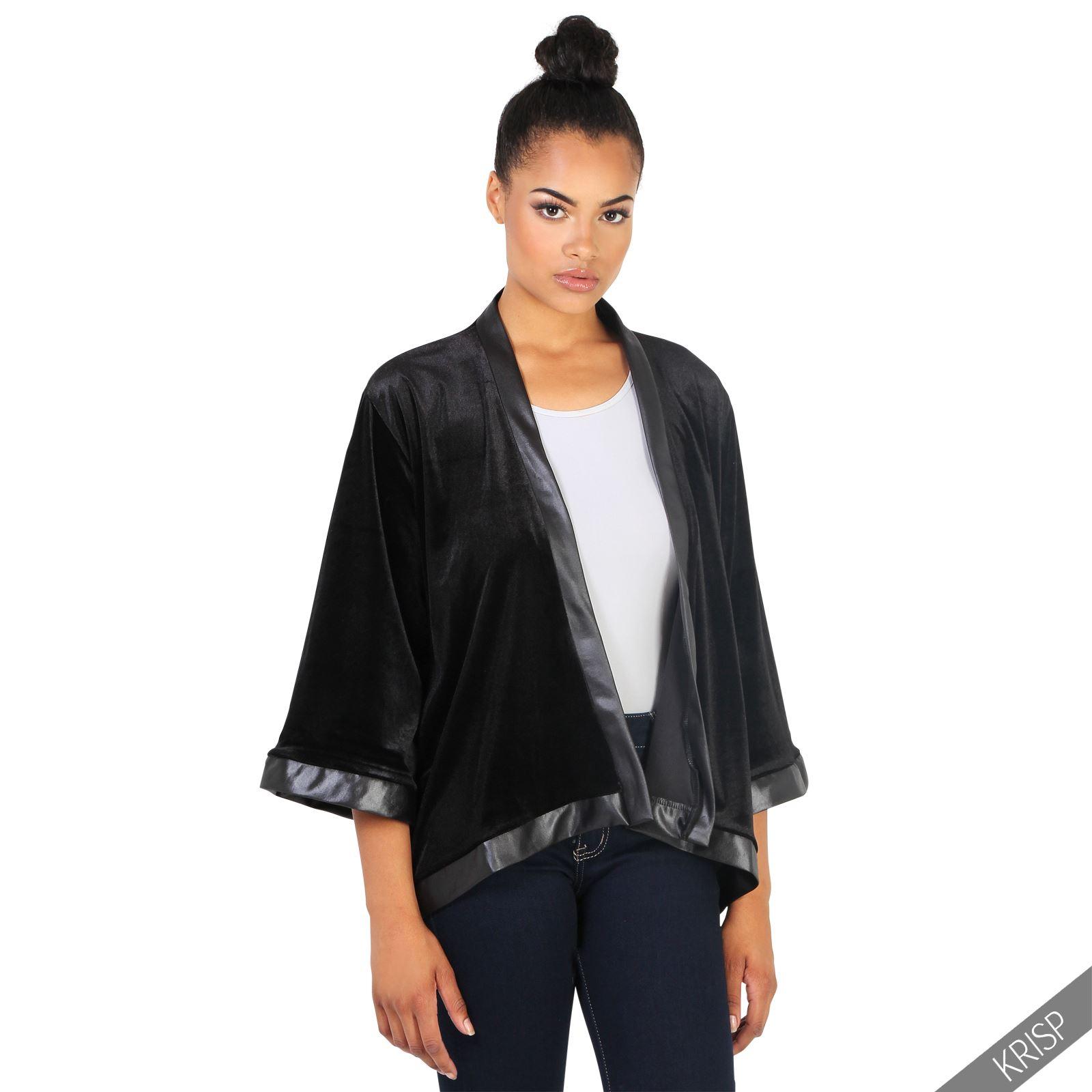 Womens Ladies Vintage Velvet Kimono Duster Coat Open