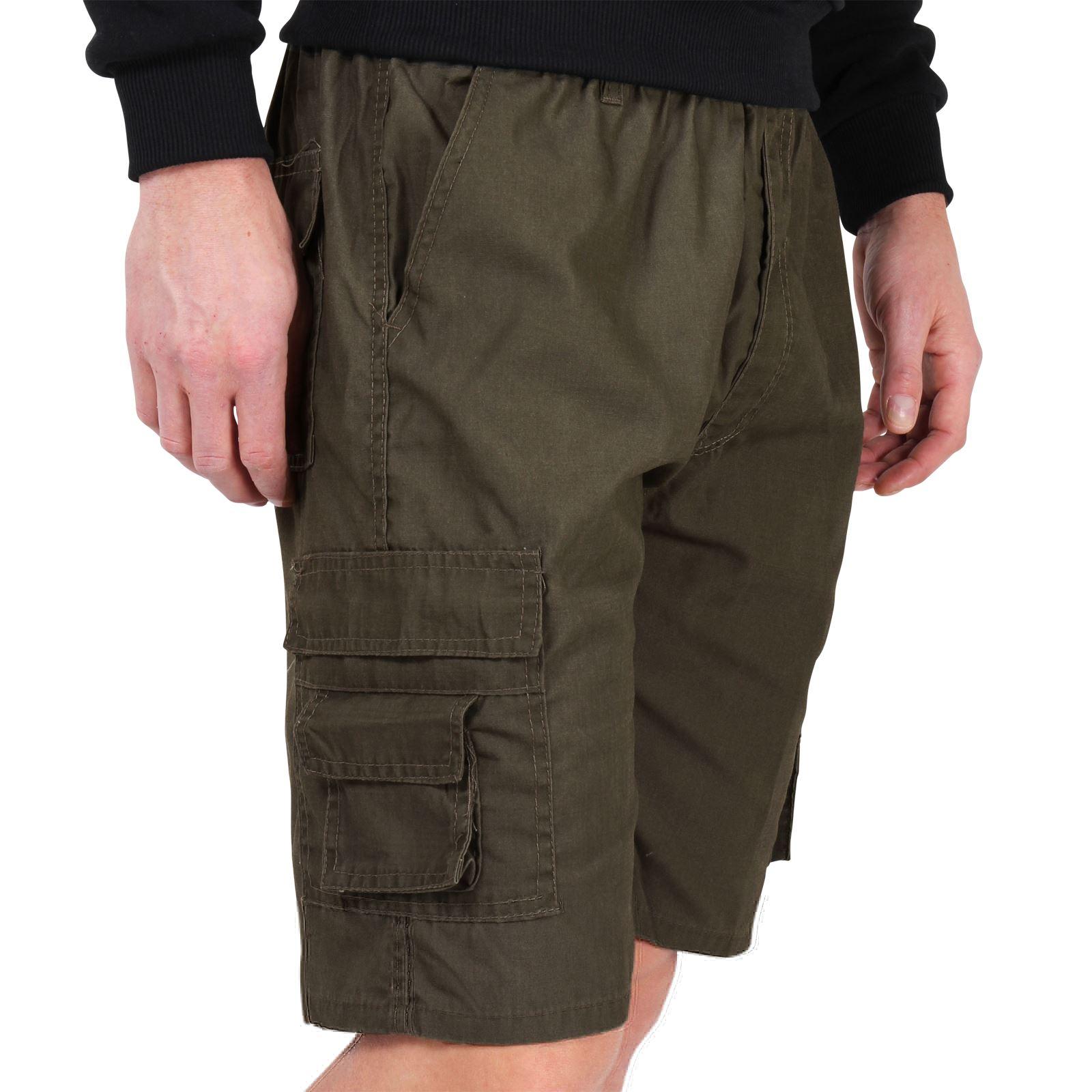 homme pantalon court cargo multi poches style militaire safari classiques ebay. Black Bedroom Furniture Sets. Home Design Ideas