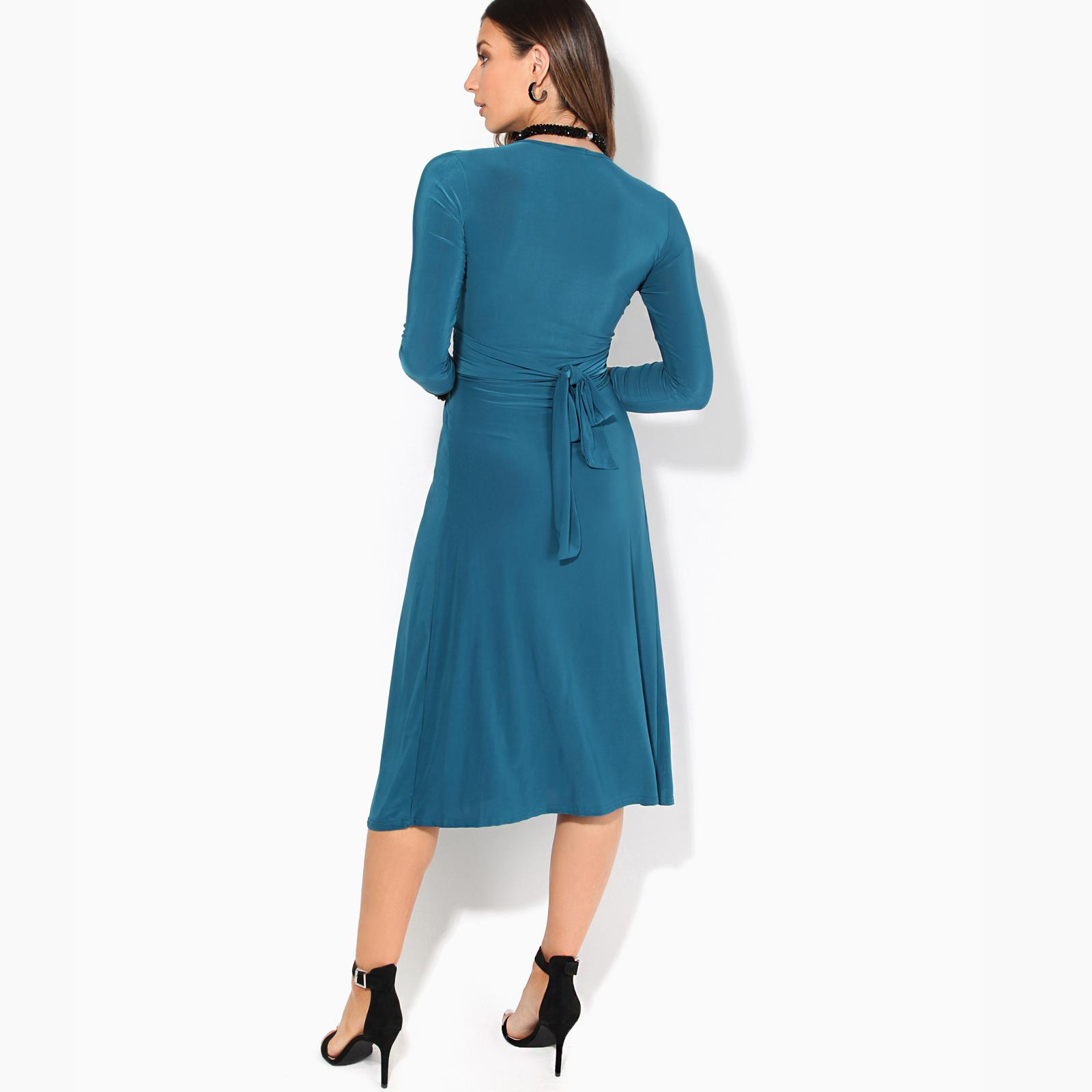 Women-Ladies-V-Neck-Midi-Dress-Knee-Long-A-Line-Skirt-3-4-Sleeve-Knot-Party-Work thumbnail 13