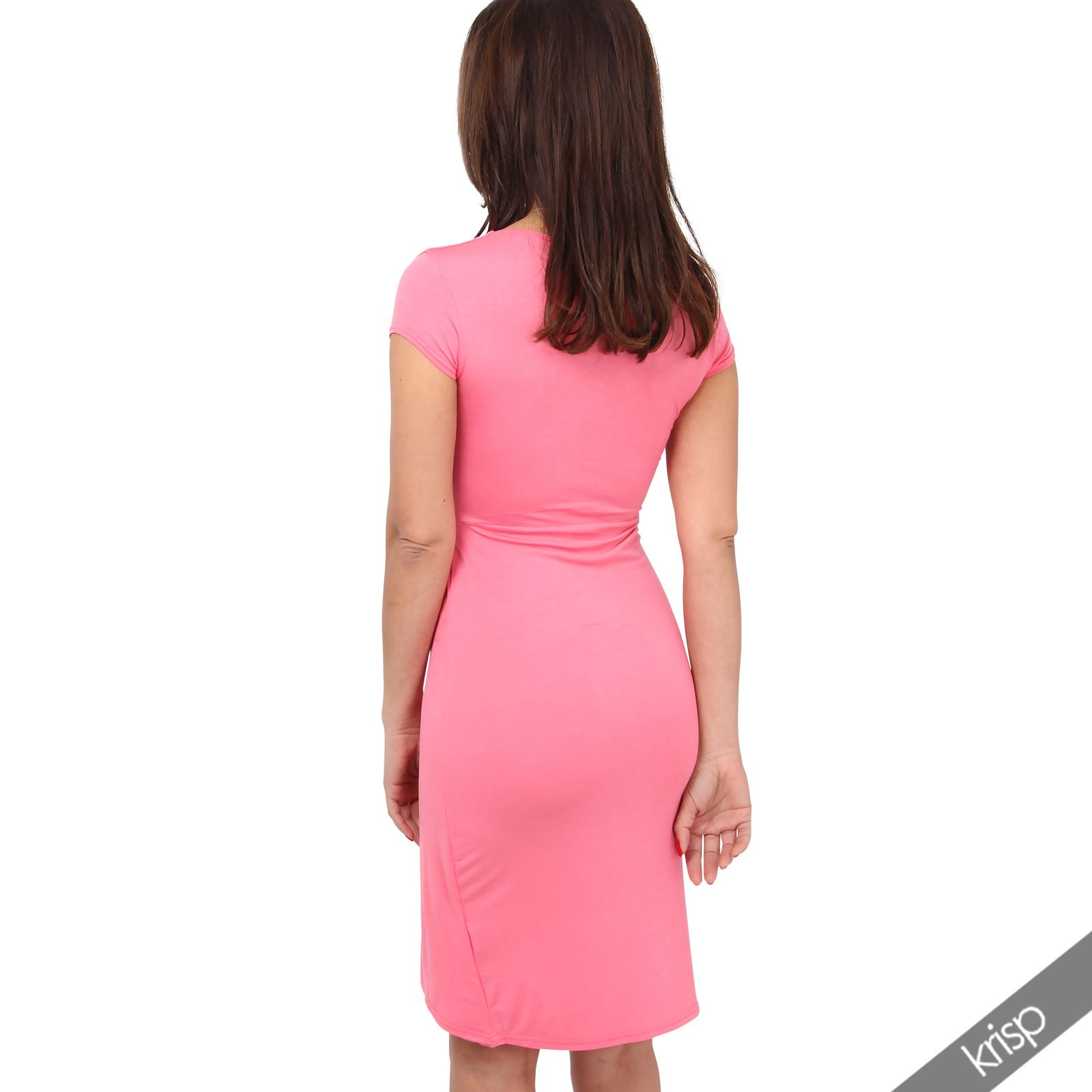 Womens-Ladies-V-Neck-Wrap-Midi-Dress-Front-Pleated-Skirt-Top-Cap-Sleeve-Party thumbnail 7