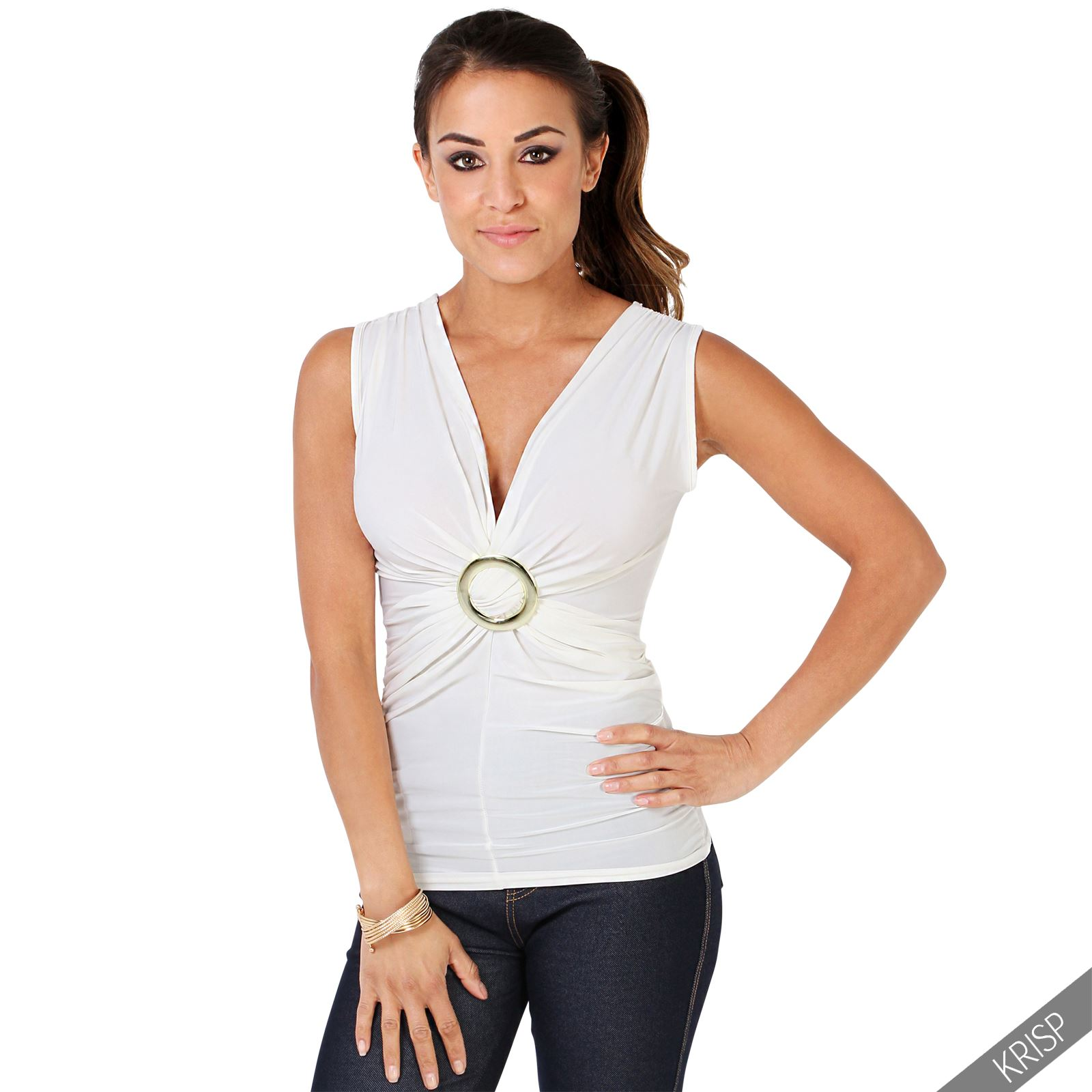 Womens-Evening-Tops-V-Neck-Ladies-Stretch-Sleeveless-Ruched-Tunic-Party-Tank-Top thumbnail 7