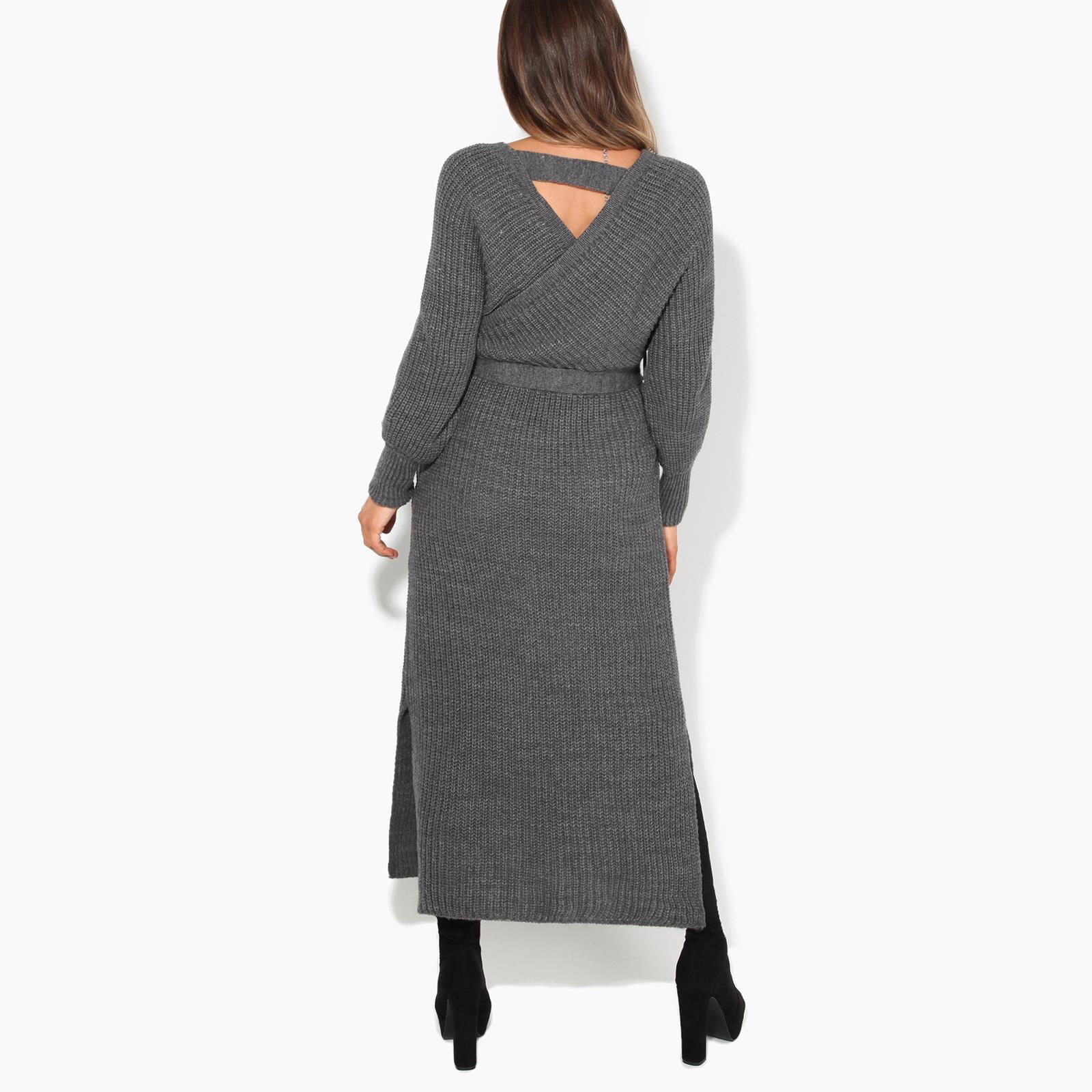 Womens-Ladies-Jumper-Dress-Chunky-Knit-Wrap-V-Neck-Maxi-Long-Sleeve-Winter-Top thumbnail 7