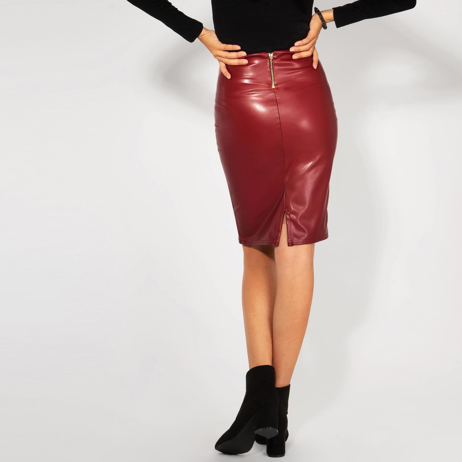 Womens-Ladies-Leather-Pencil-Skirt-Sexy-Wet-Look-Stretch-PU-Mini-Midi-Bodycon thumbnail 13