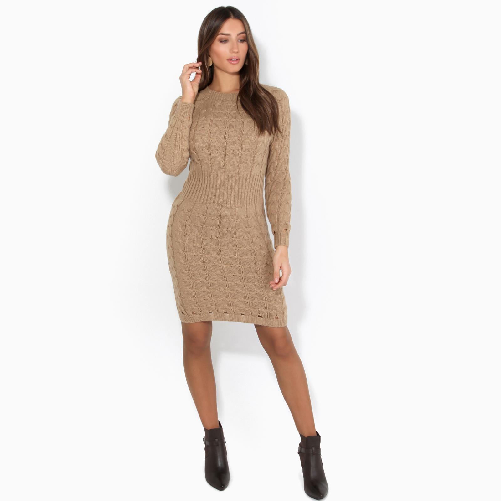 Womens-Ladies-Jumper-Dress-Longsleeve-Mini-Warm-Winter-Knit-Top-Bodycon thumbnail 9