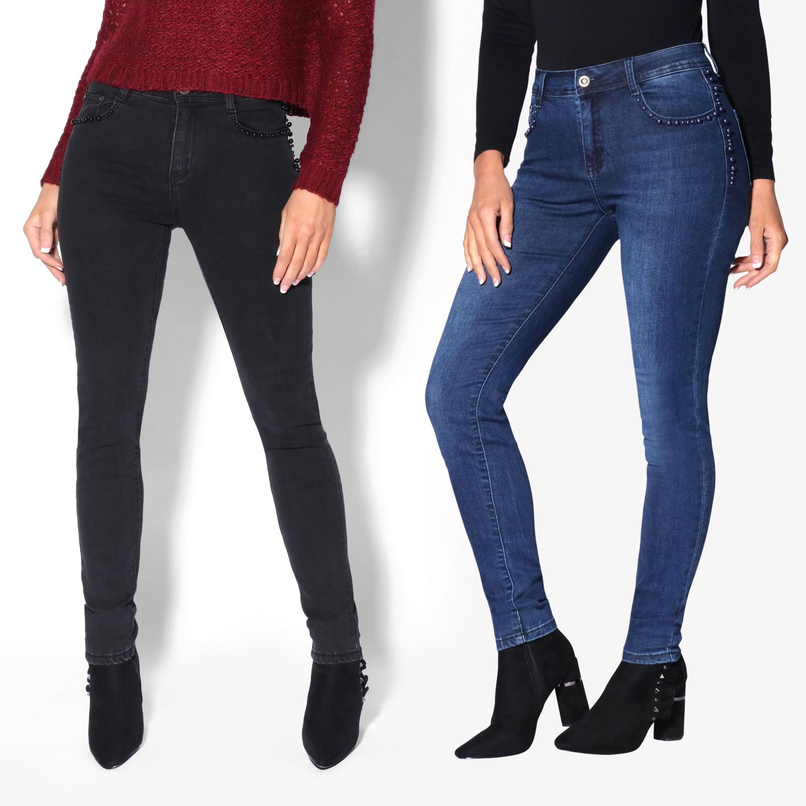 0581a6e2ea1 Details about Women Embellished Skinny Jeans Ladies Slim Stretch Fitted  Denim Trousers Pants
