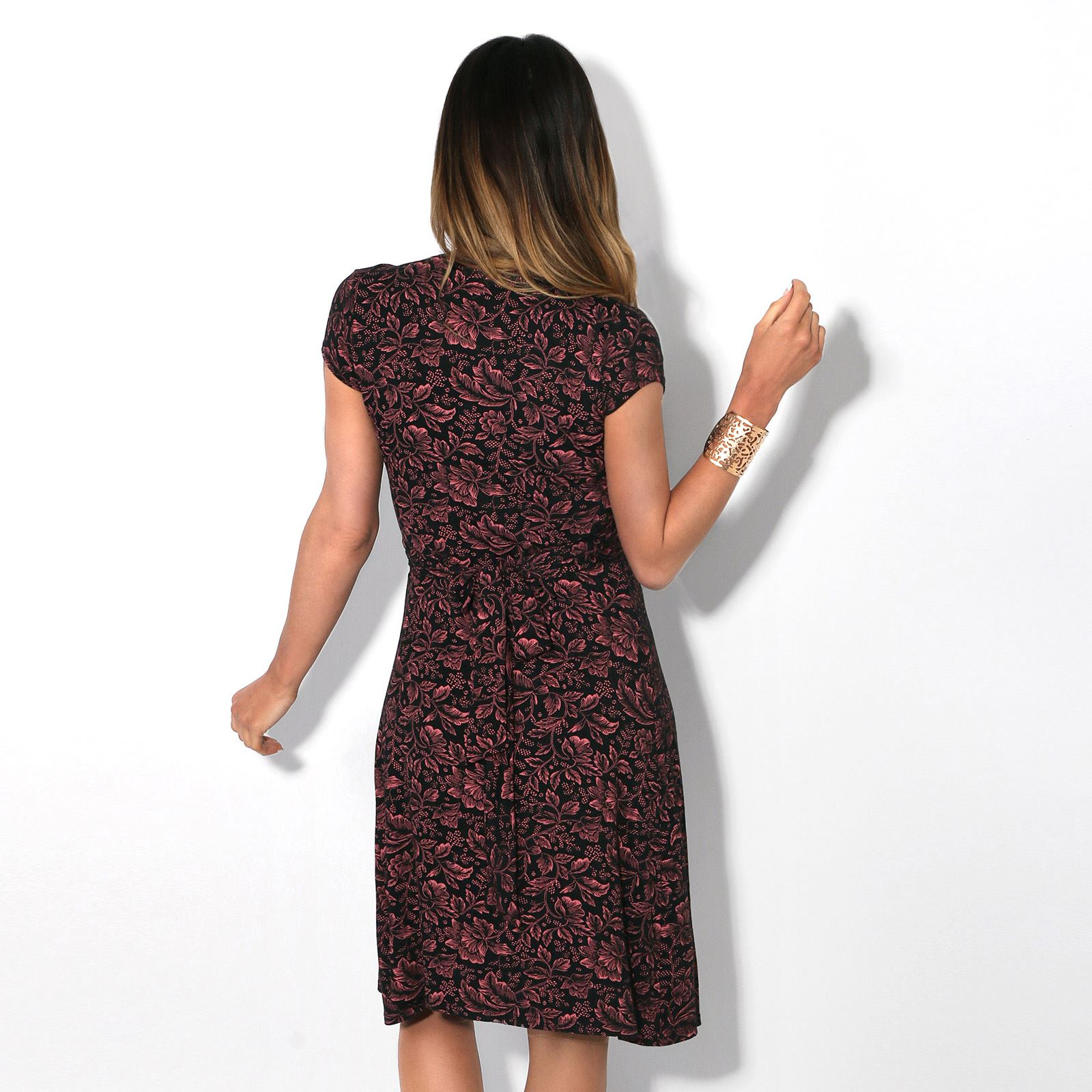 Womens-Ladies-V-Neck-Mini-Midi-Dress-Floral-Print-Knot-Short-Skirt-Party-Casual thumbnail 4