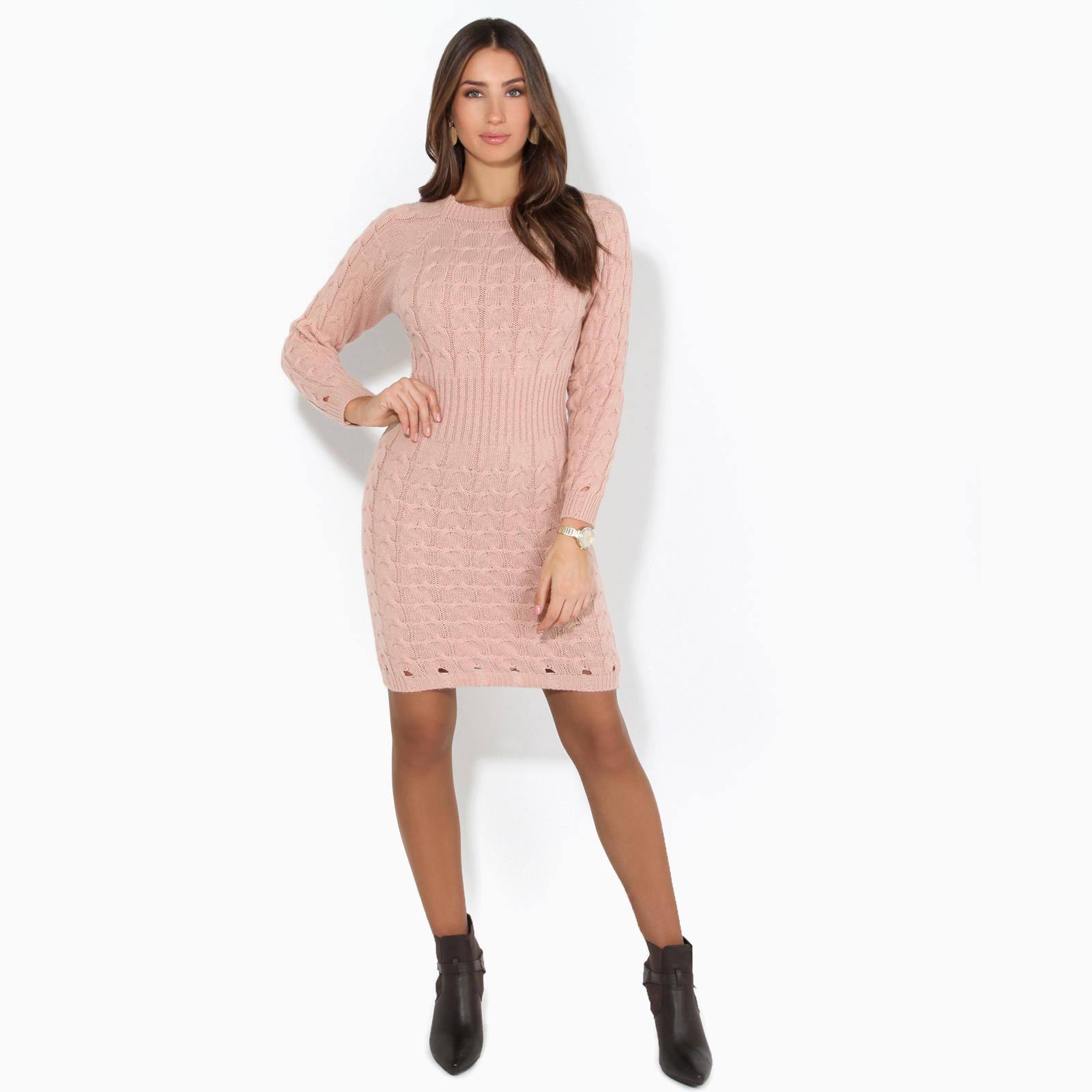 Womens-Ladies-Jumper-Dress-Longsleeve-Mini-Warm-Winter-Knit-Top-Bodycon thumbnail 15