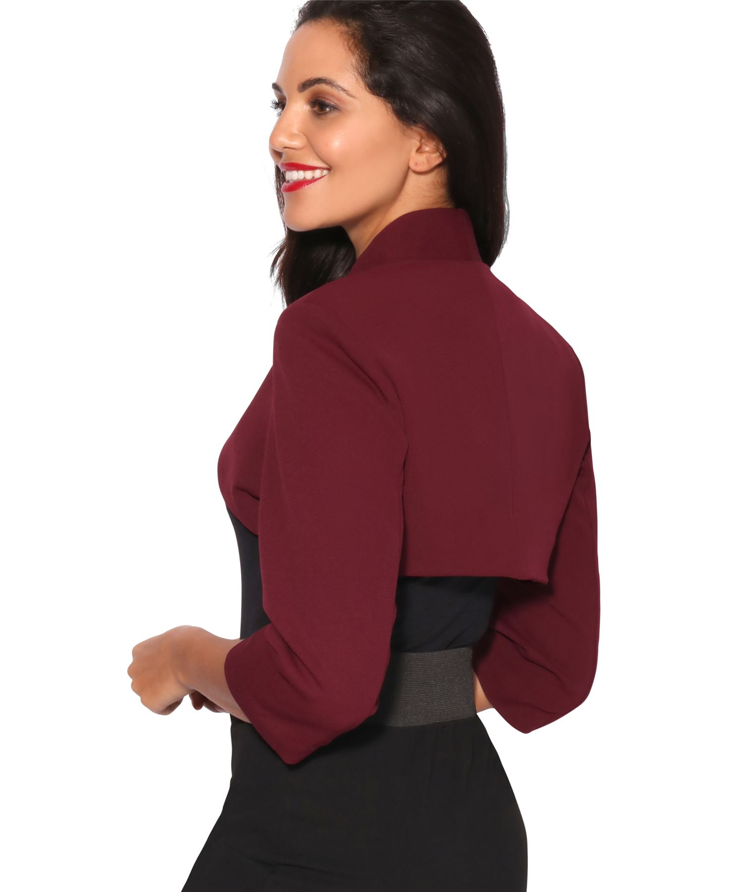 Womens-Tailored-Bolero-Shrug-Cropped-Top-Short-Sleeve-Party-Blazer-Jacket-Coat thumbnail 26
