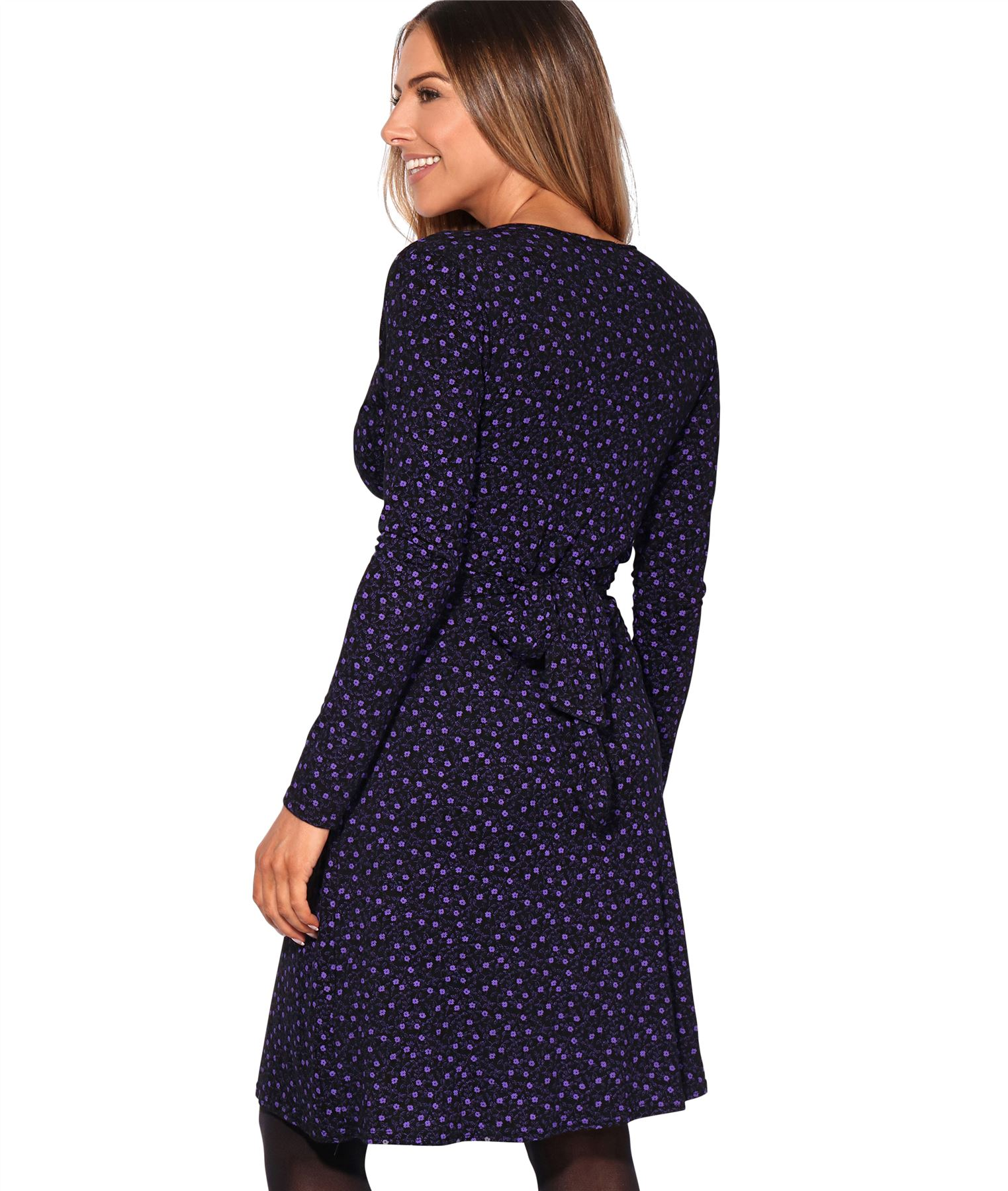 Womens-Ladies-Pattern-Dress-Drape-Print-Stretch-Long-Sleeve-Ruched-Knot-Party thumbnail 7