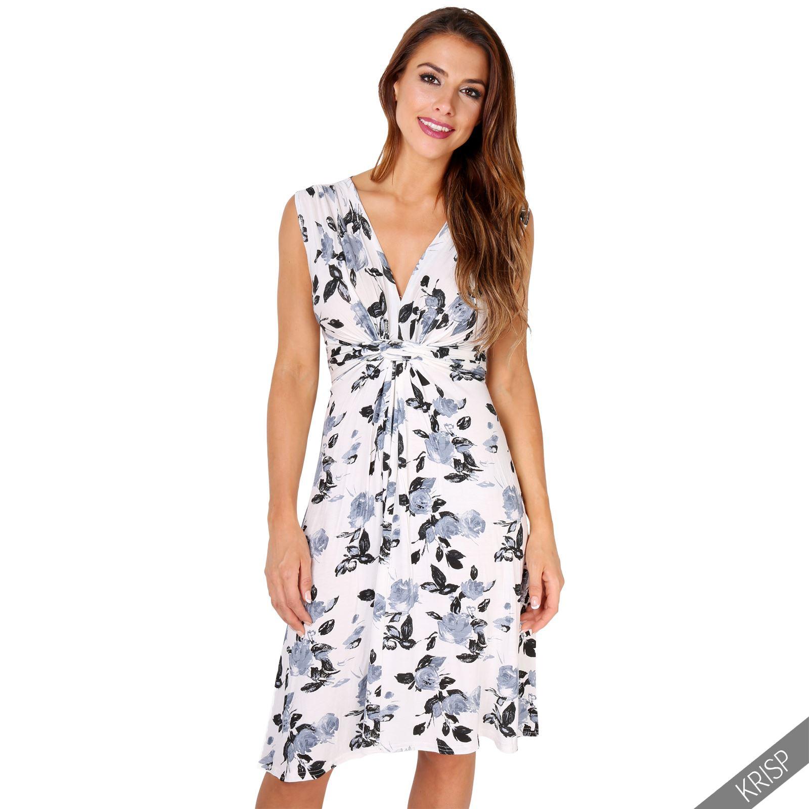 Damen blumen v ausschnitt knoten kleid gebl mtes knielanges sommerkleid ebay - Sommerkleid v ausschnitt ...