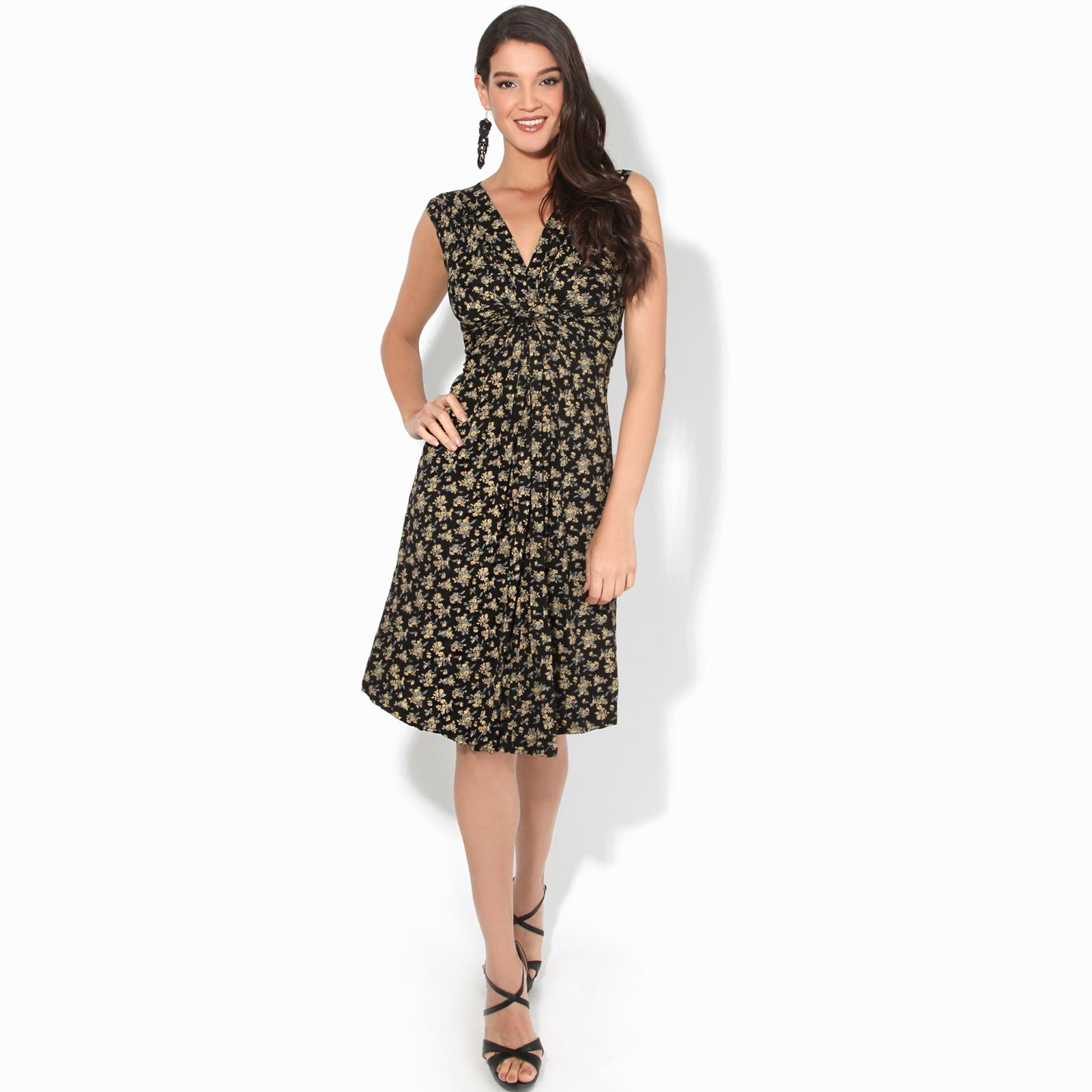 Women-Ladies-Floral-Midi-Dress-Pattern-Sleeveless-V-Neck-Stretch-Casual-Sundress thumbnail 6