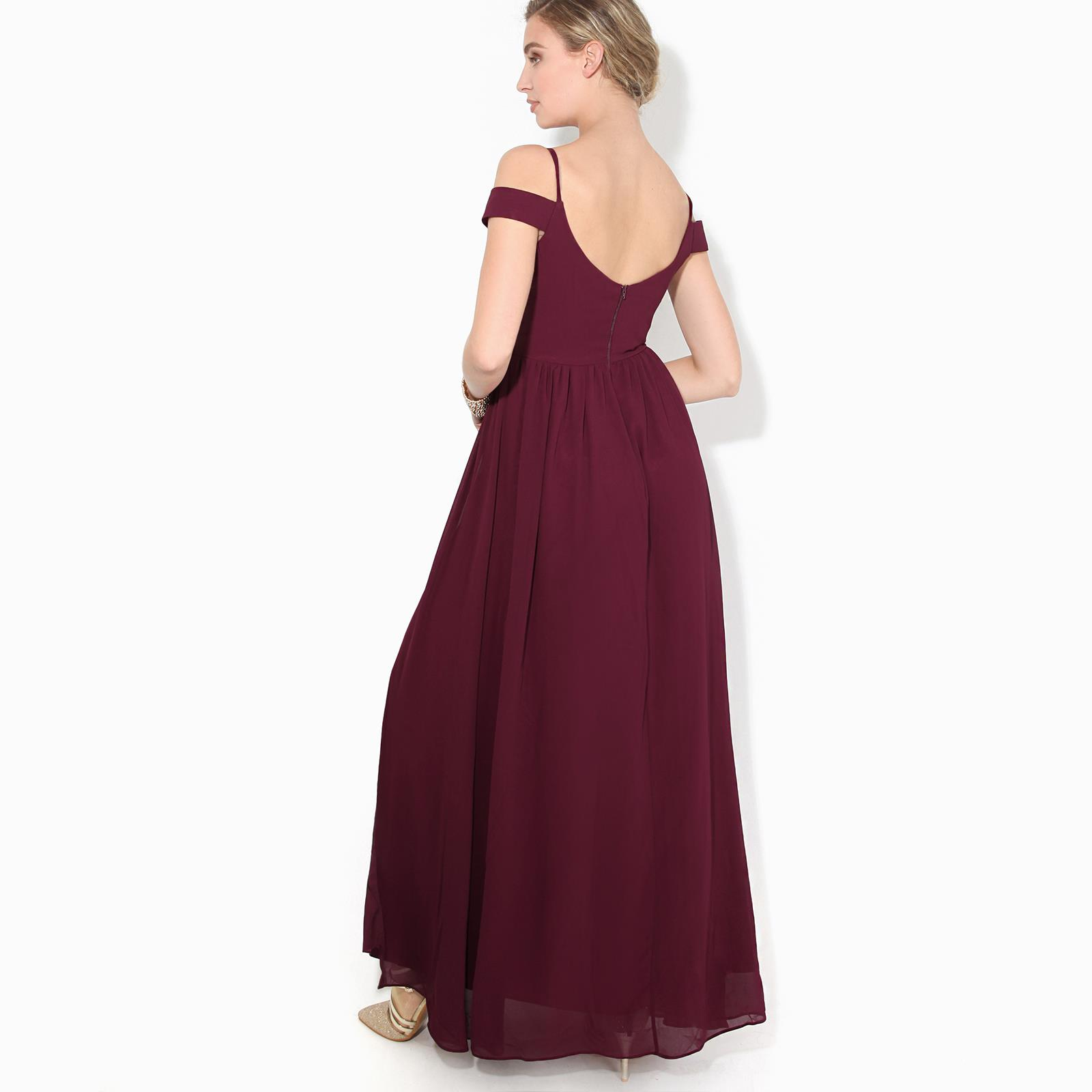 Womens-Ladies-Off-Shoulder-Formal-Maxi-Dress-Slit-Split-Long-Gown-Wedding-Party thumbnail 16