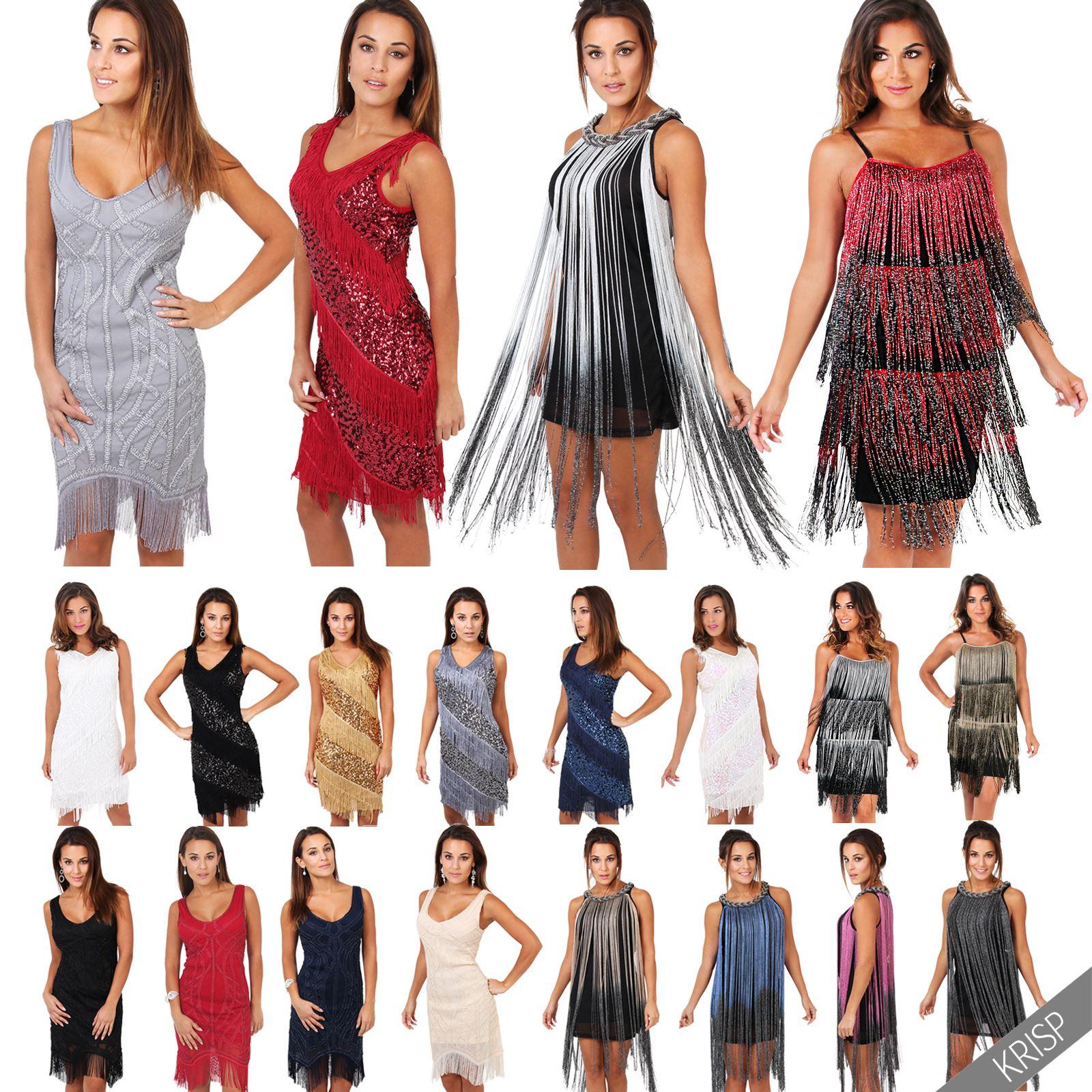 Damen Swing Kleid 20er Jahre Fransenkleid Party Cocktailkleid ...