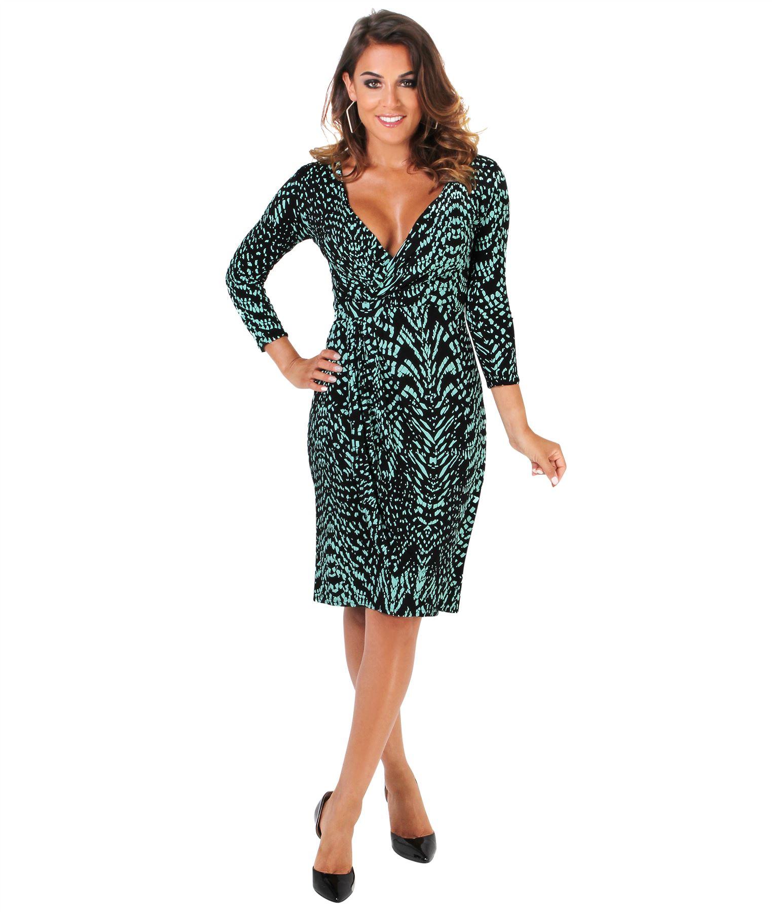 Womens-V-Neck-Dress-Top-Bodycon-Skirt-Midi-Snakeskin-Print-Cross-Over-Party-Wrap thumbnail 21