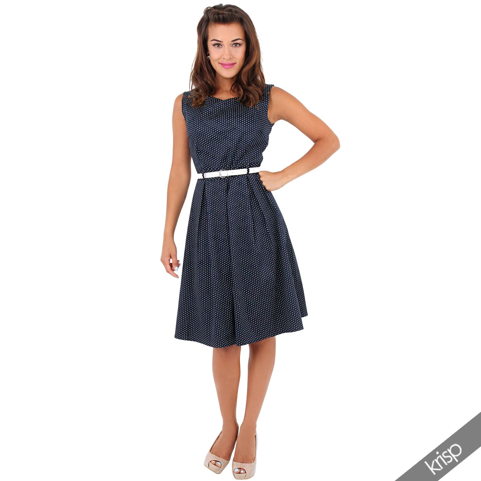 Womens Vintage 50s Pin Up Polka Dot Flared Midi Dress ...