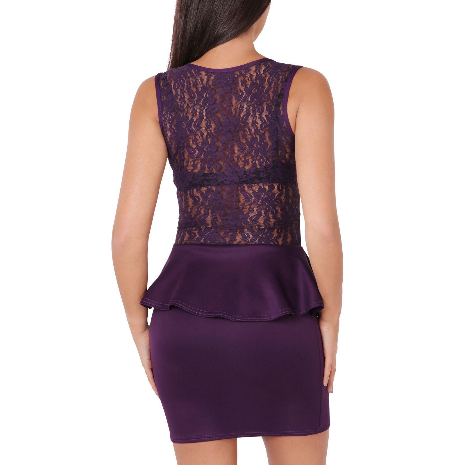 KRISP-Womens-Stretch-Bodycon-Peplum-Pencil-Dress-Lace-Frill-Mini-Ladies-Office