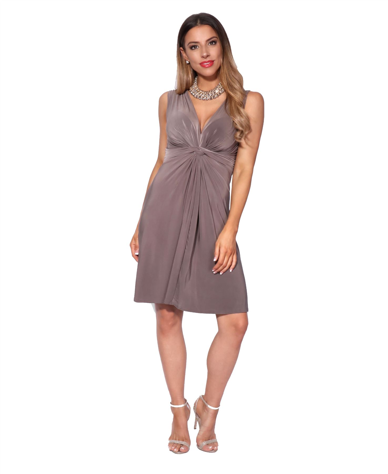 thumbnail 32 - Womens Ladies Ruched Drape Mini Dress Twist Knot Party Summer Casual Beach