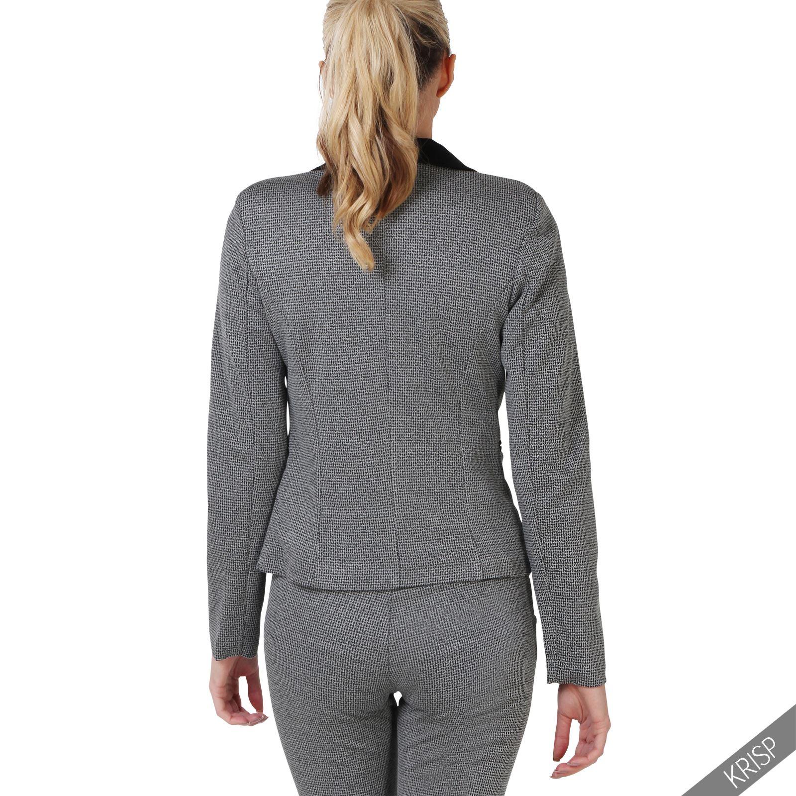 damen business hosenanzug eleganter blazer graue slim fit. Black Bedroom Furniture Sets. Home Design Ideas