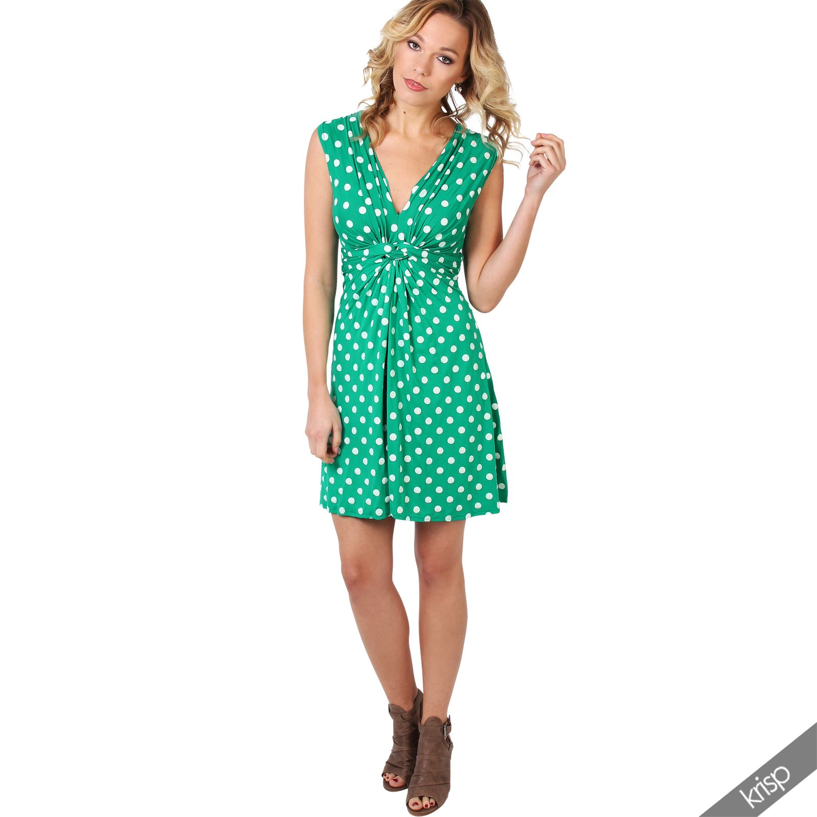 Womens-Polka-Dot-Retro-Dress-Pleated-Skirt-Wrap-Mini-V-Neck-Top-Swing-Party thumbnail 15