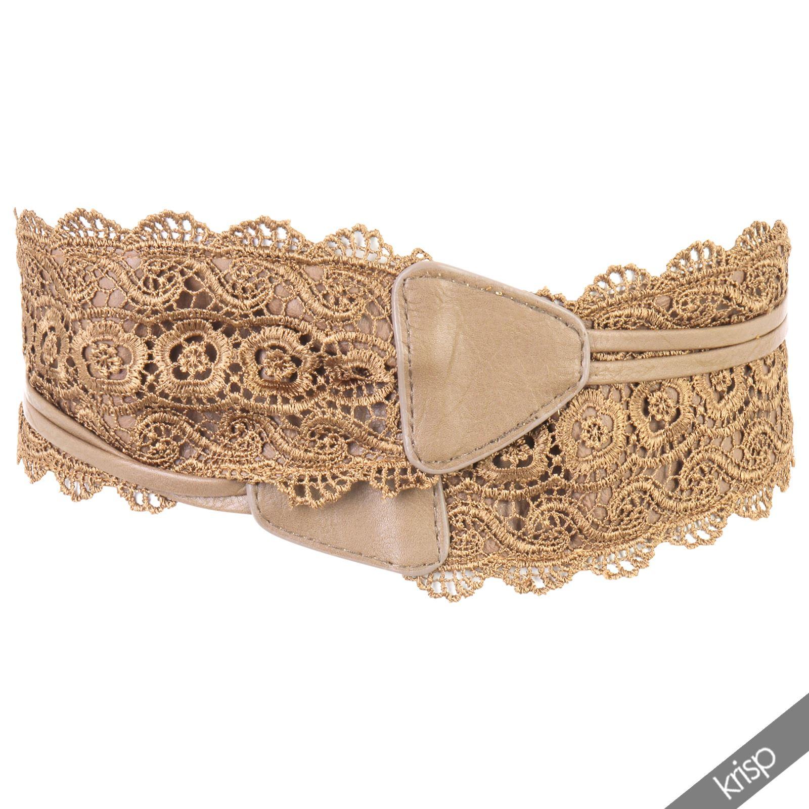thumbnail 31 - Womens-Ladies-Wide-Waist-Belt-Floral-Waistband-Pattern-Band-Crochet-Lace-Corset