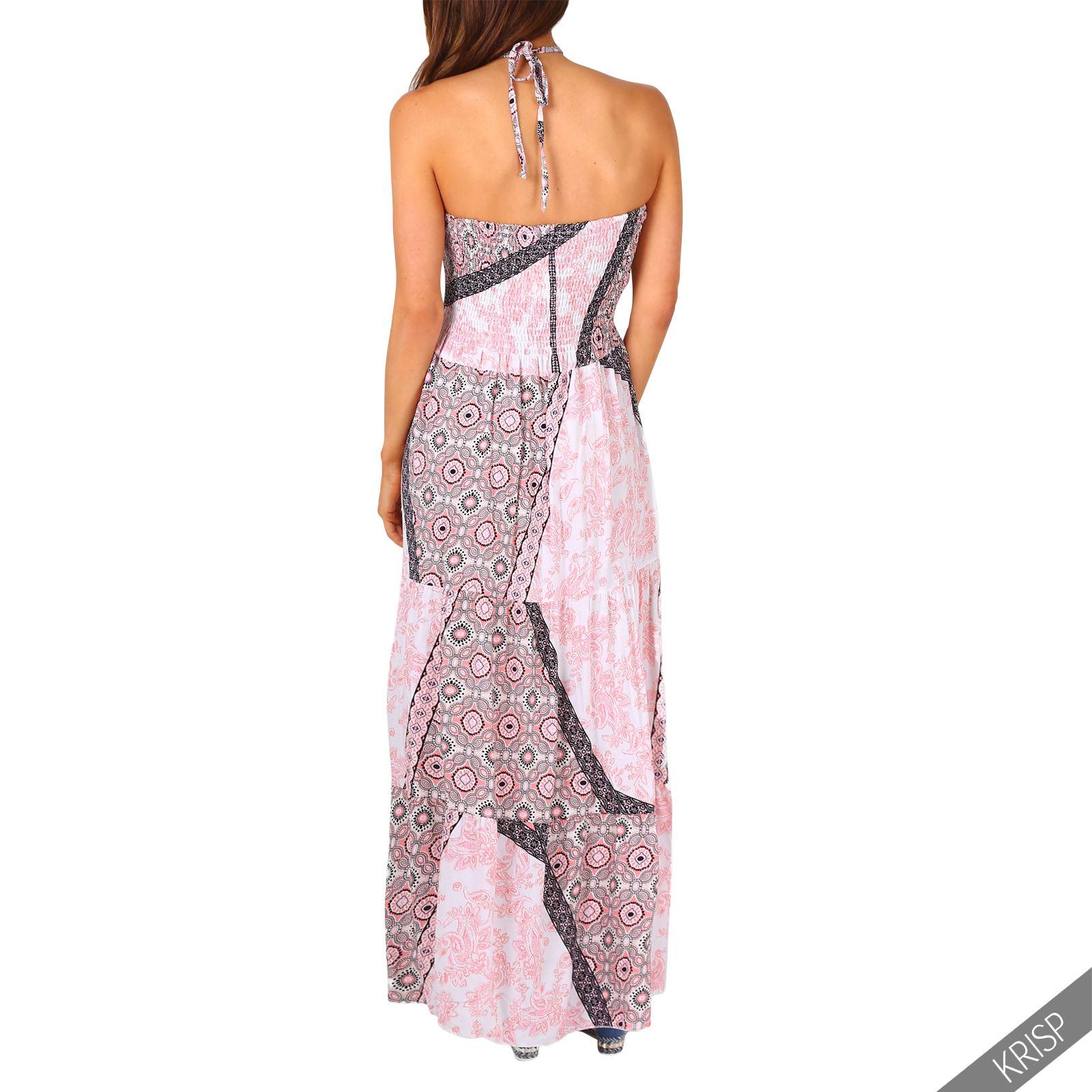 Damen Frauen Neckholder Patchwork Maxikleid Sommerkleid ...