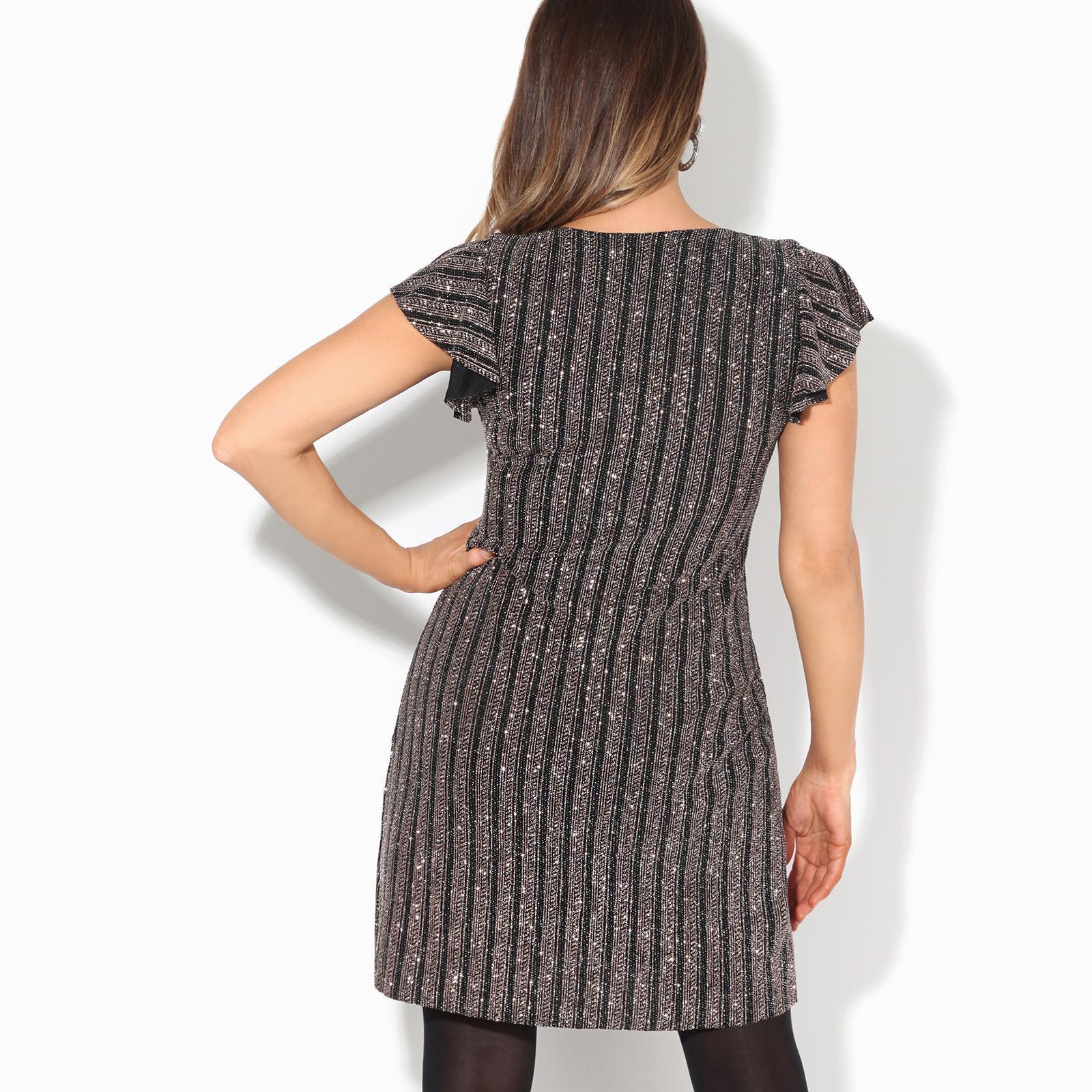 Womens-Ladies-Sequin-Glitter-Dress-Party-Ruffle-Sleeve-Evening-Lurex-Tunic-Top thumbnail 4