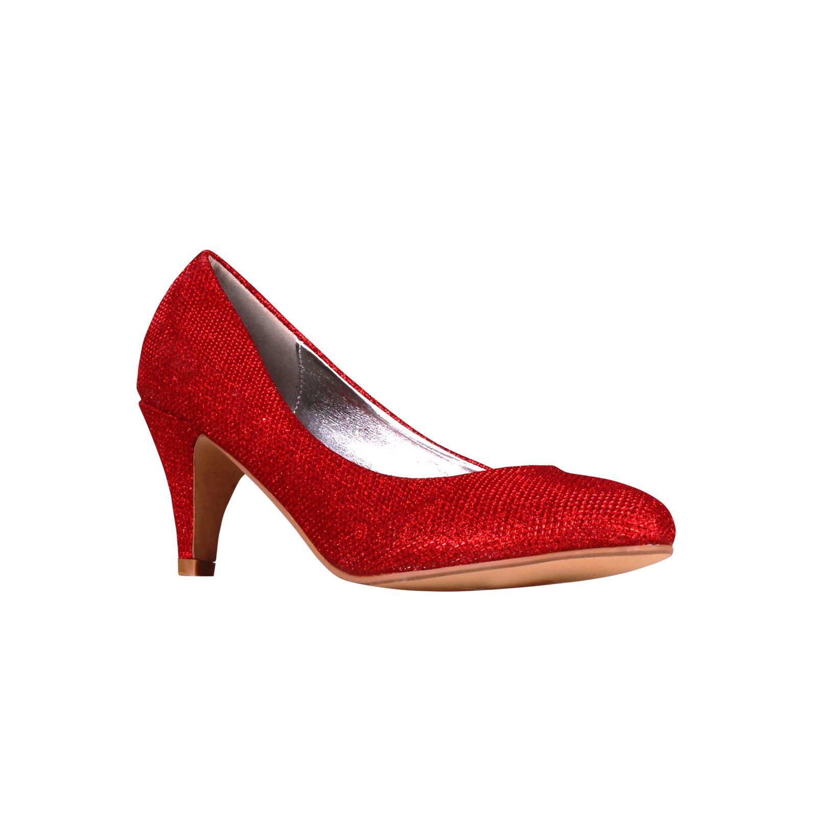 Damen Frauen Glitzer Kitten-Heel Absatz Pumps Festliche Edle Büro Party Schuhe