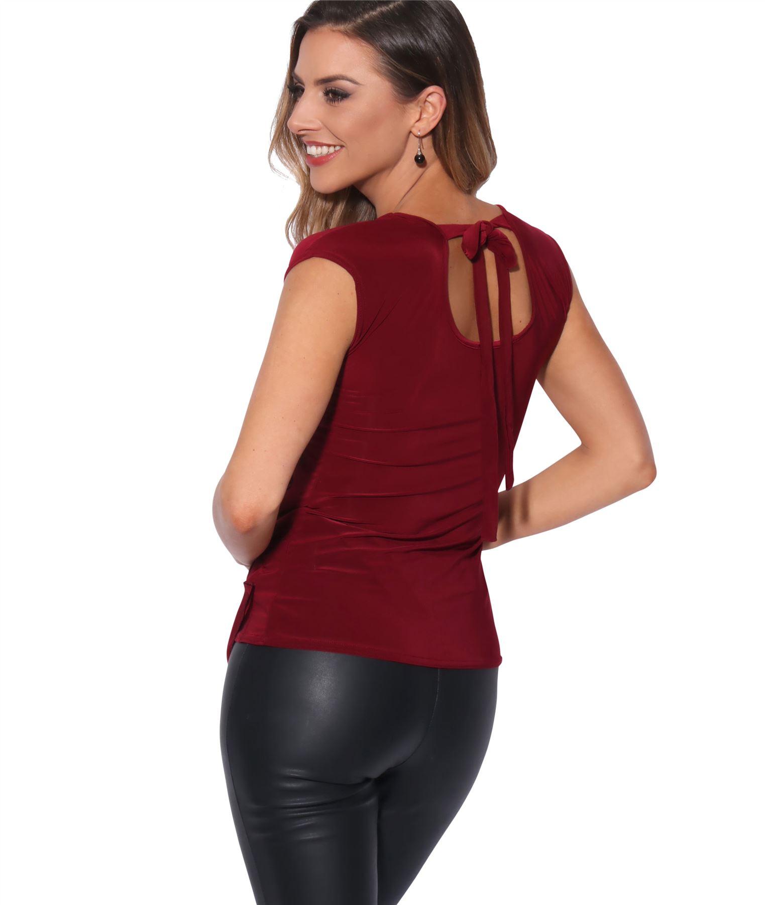 Femme-Top-Haut-Soiree-Decollete-N-ud-Dos-Chic-Sexy-Mode-Grande-Taille-Debardeur miniature 7
