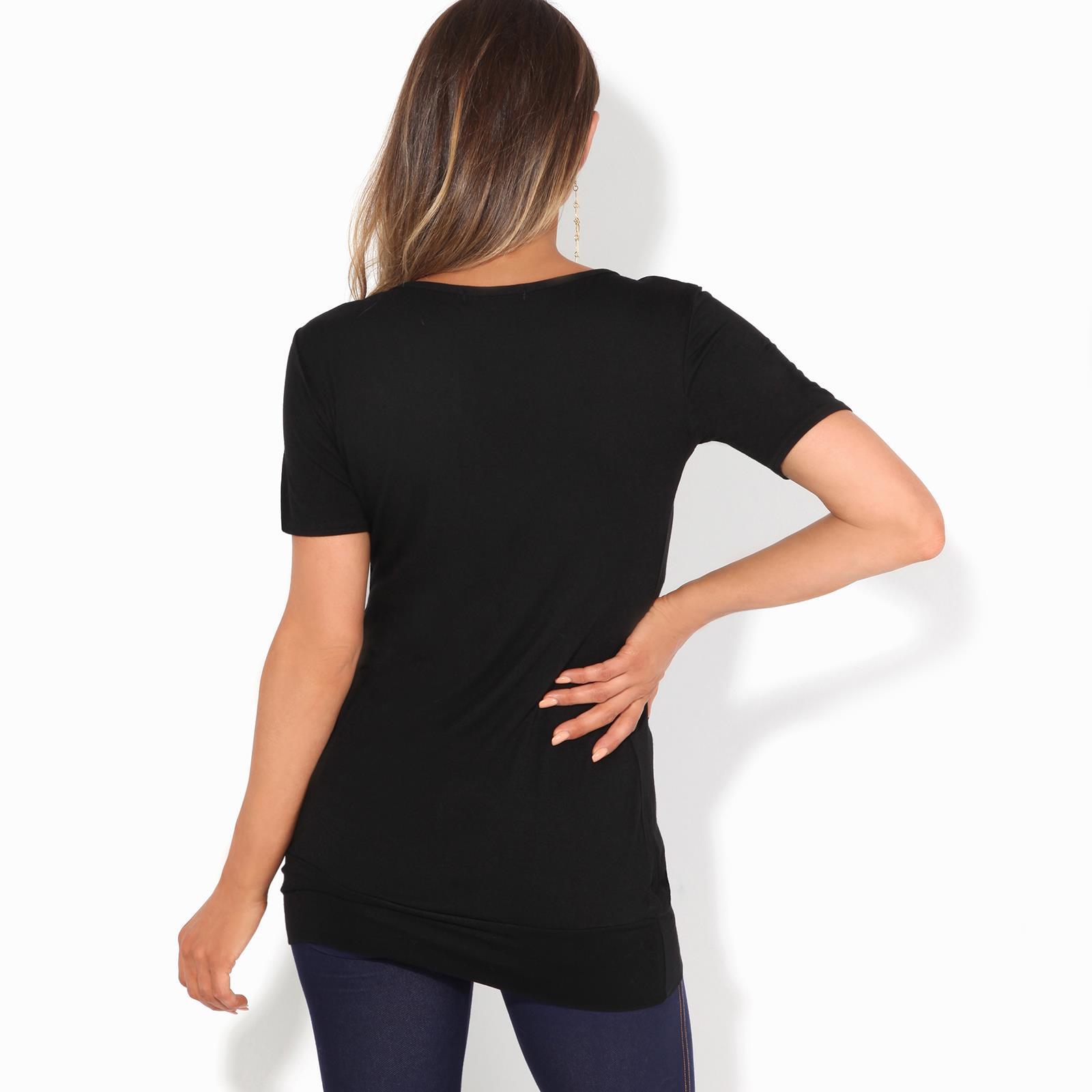 Femmes-Top-Haut-Chemisier-T-Shirt-Chemise-Blouse-Tunique-Long-Grandes-Tailles miniature 11