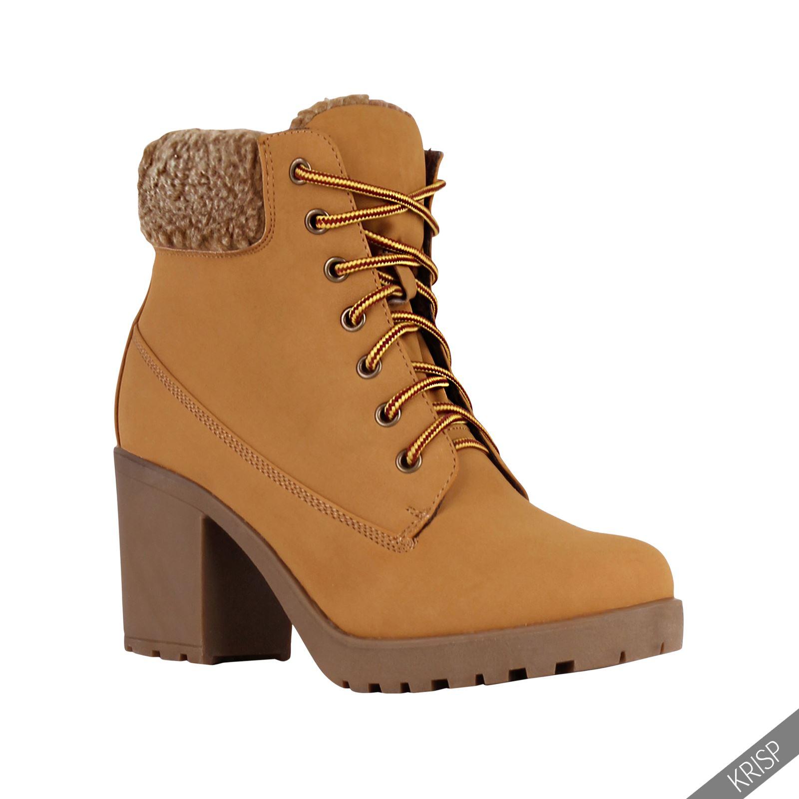 Botines-Mujer-Camel-Bota-Plana-Suela-Goma-Cordones-Casual-Otono-Invierno-Tacon miniatura 27