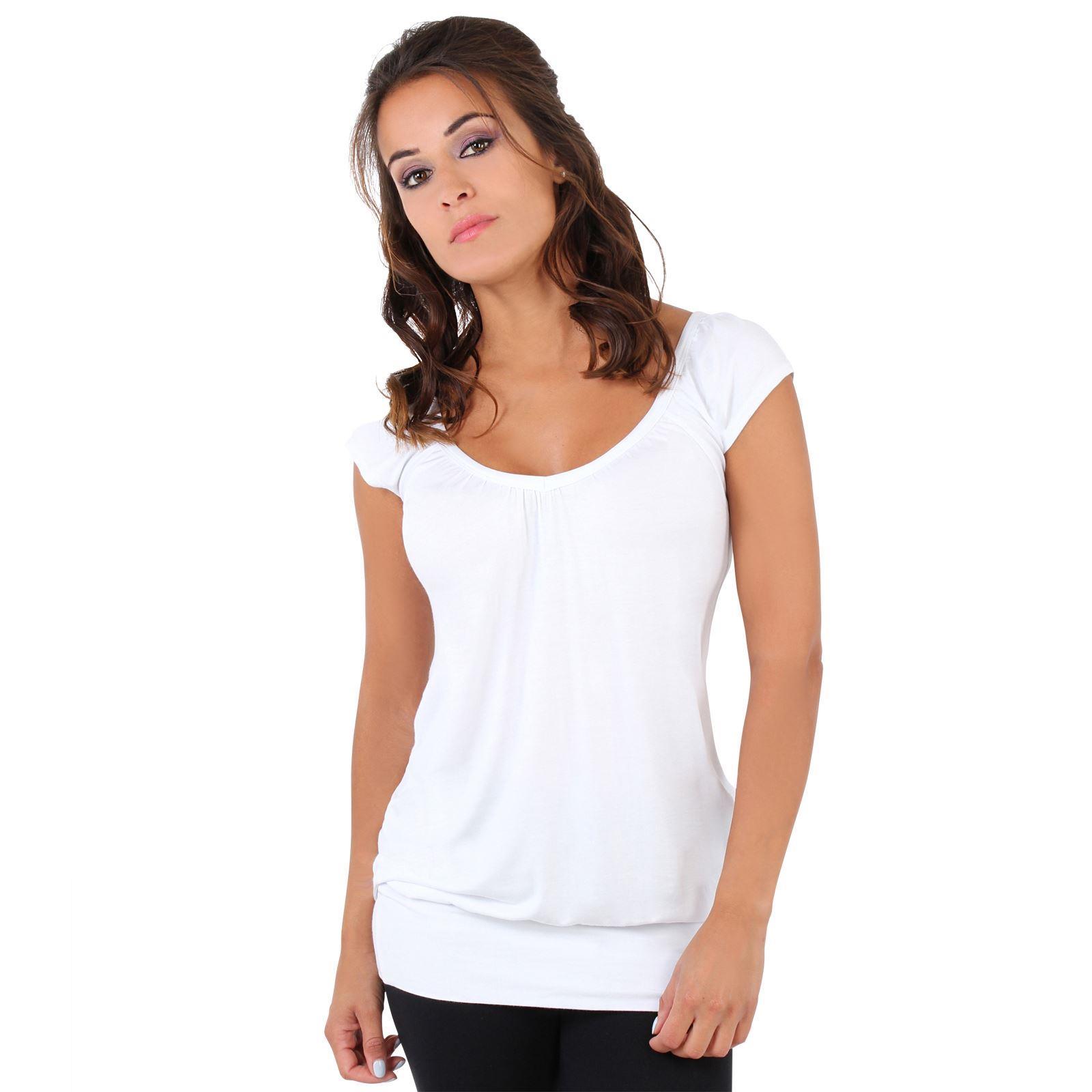 Womens-Ladies-Plain-T-Shirt-Short-Sleeve-Long-Loose-V-Neck-Blouse-Tunic-Top thumbnail 61